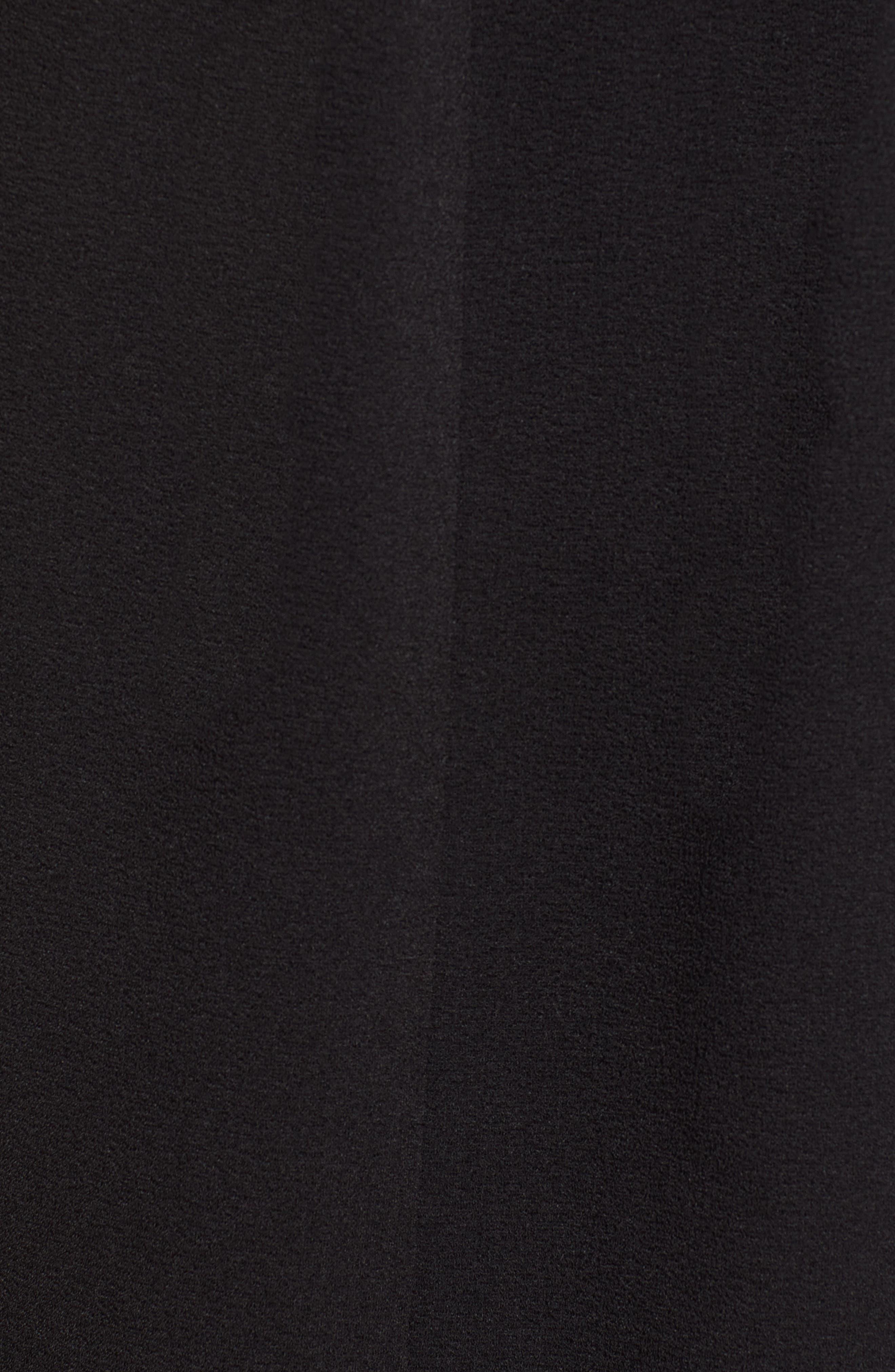 BOBEAU, Pleat Front Curved Hem Shirtdress, Alternate thumbnail 6, color, BLACK