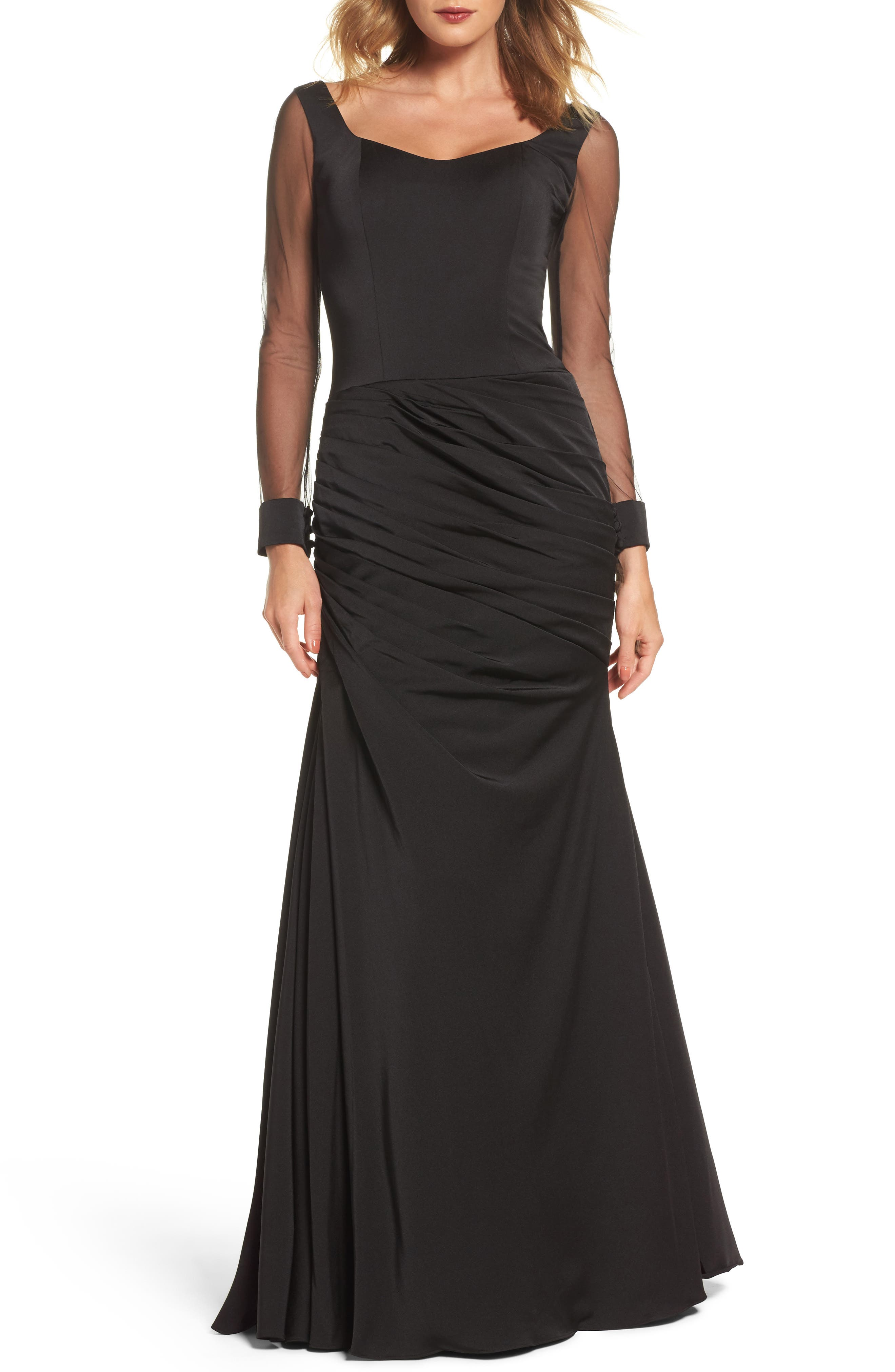 LA FEMME, Sheer Sleeve Gown, Main thumbnail 1, color, BLACK