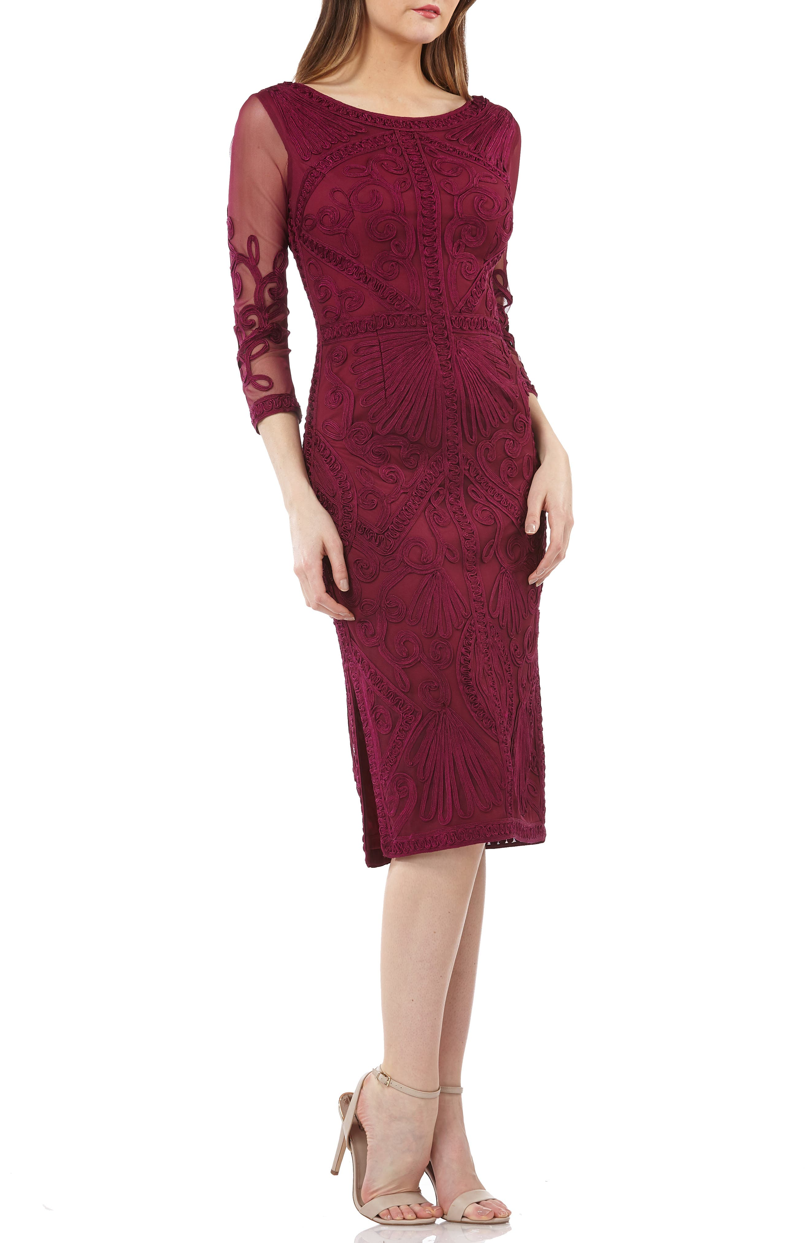Js Collections Sheer Sleeve Soutache Sheath Dress, Pink