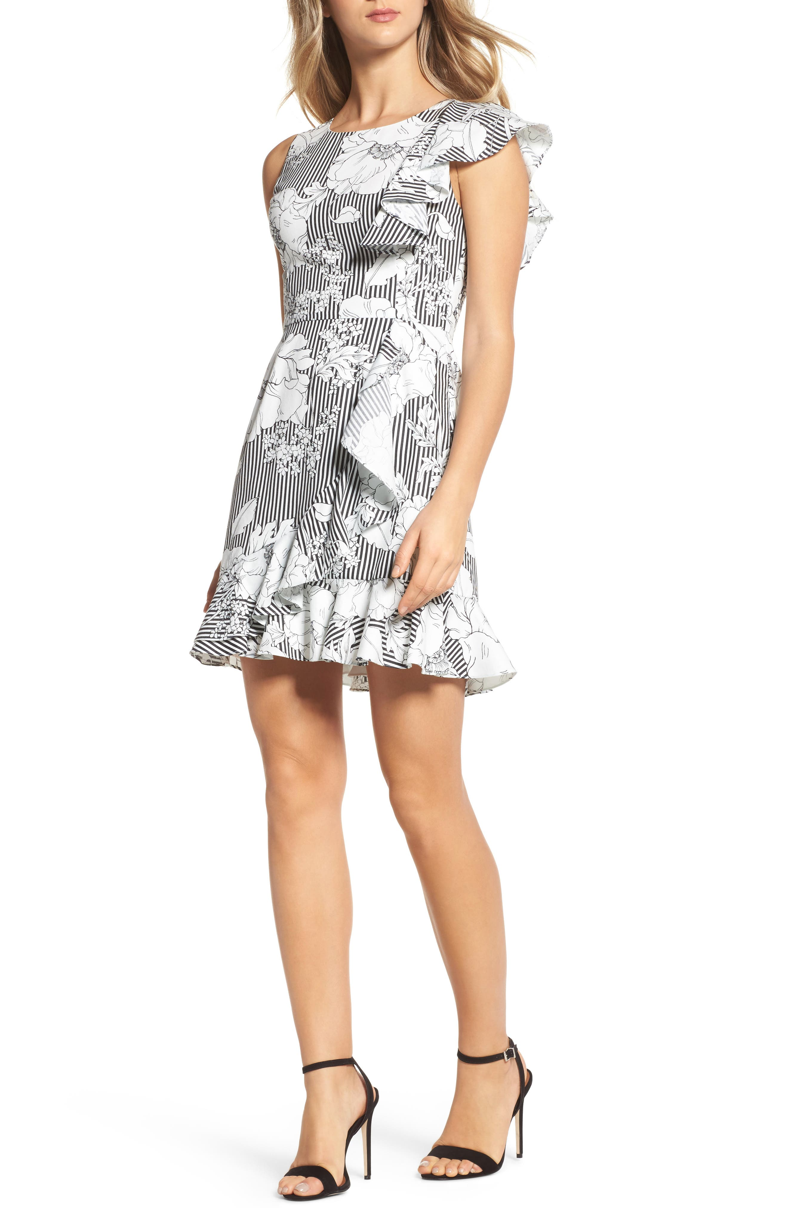 CHARLES HENRY Floral Asymmetrical Ruffle Dress, Main, color, 018