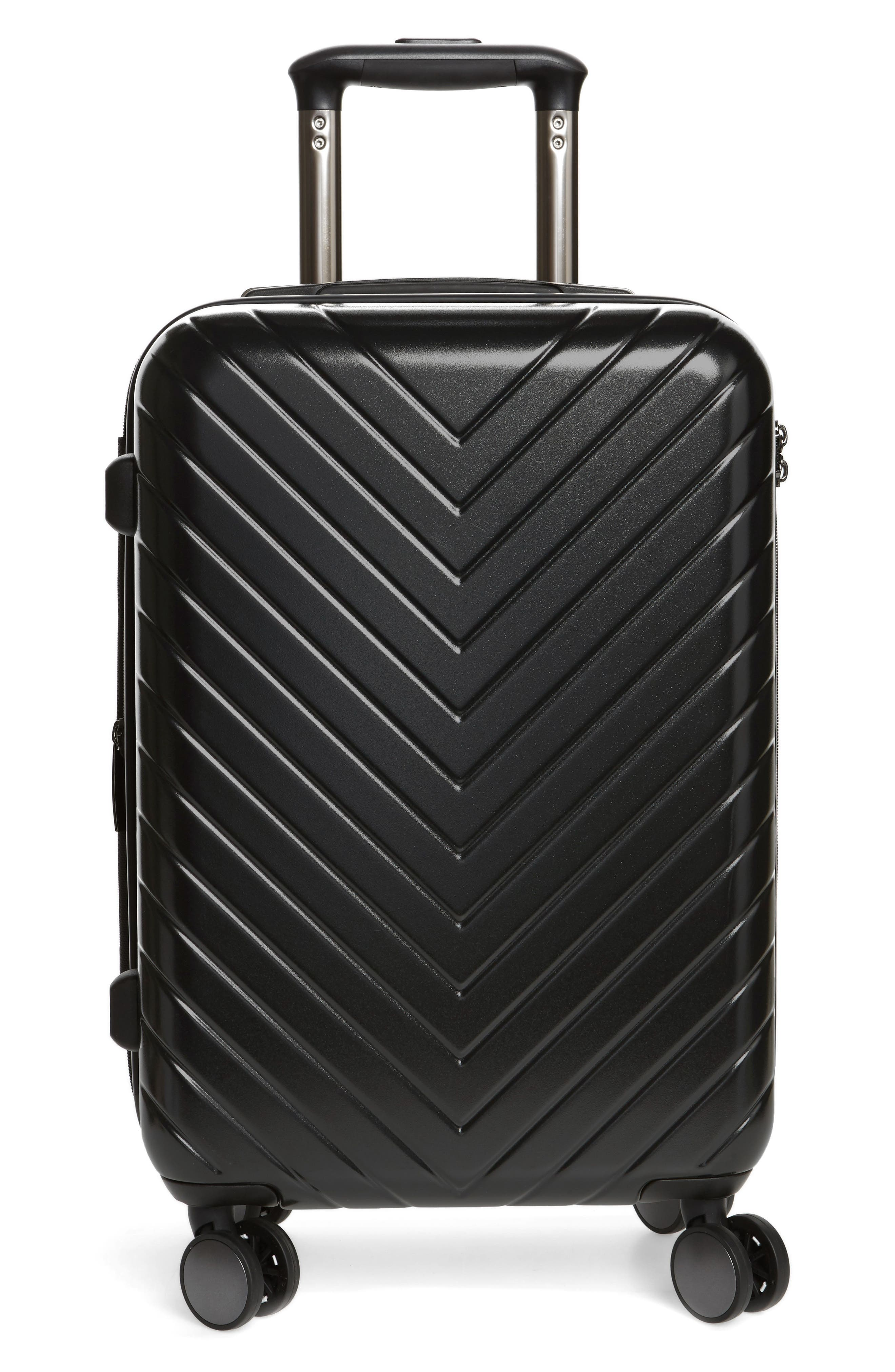 NORDSTROM, Chevron 18-Inch Spinner Carry-On, Main thumbnail 1, color, BLACK