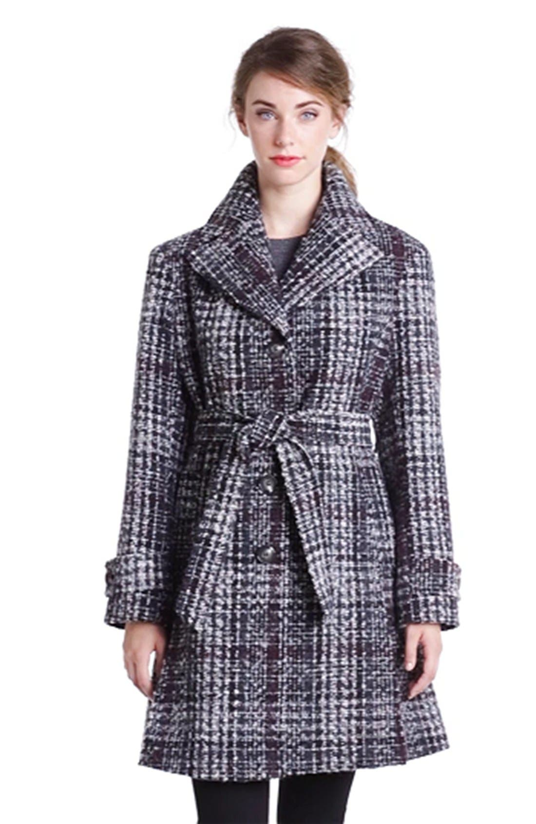 DKNY, Belted Plaid Tweed Coat, Alternate thumbnail 3, color, 061