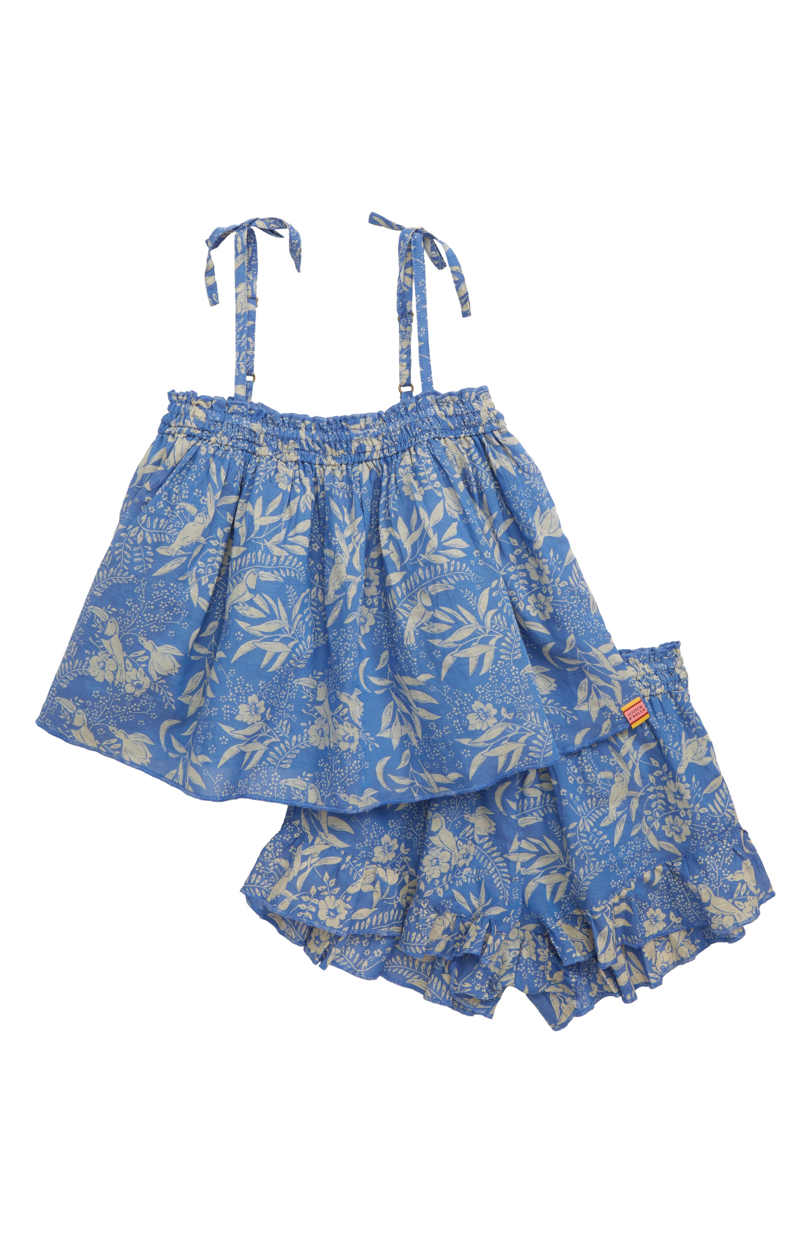 SCOTCH R'BELLE, Print Trapeze Top & Shorts Set, Main thumbnail 1, color, 603 X BLUE