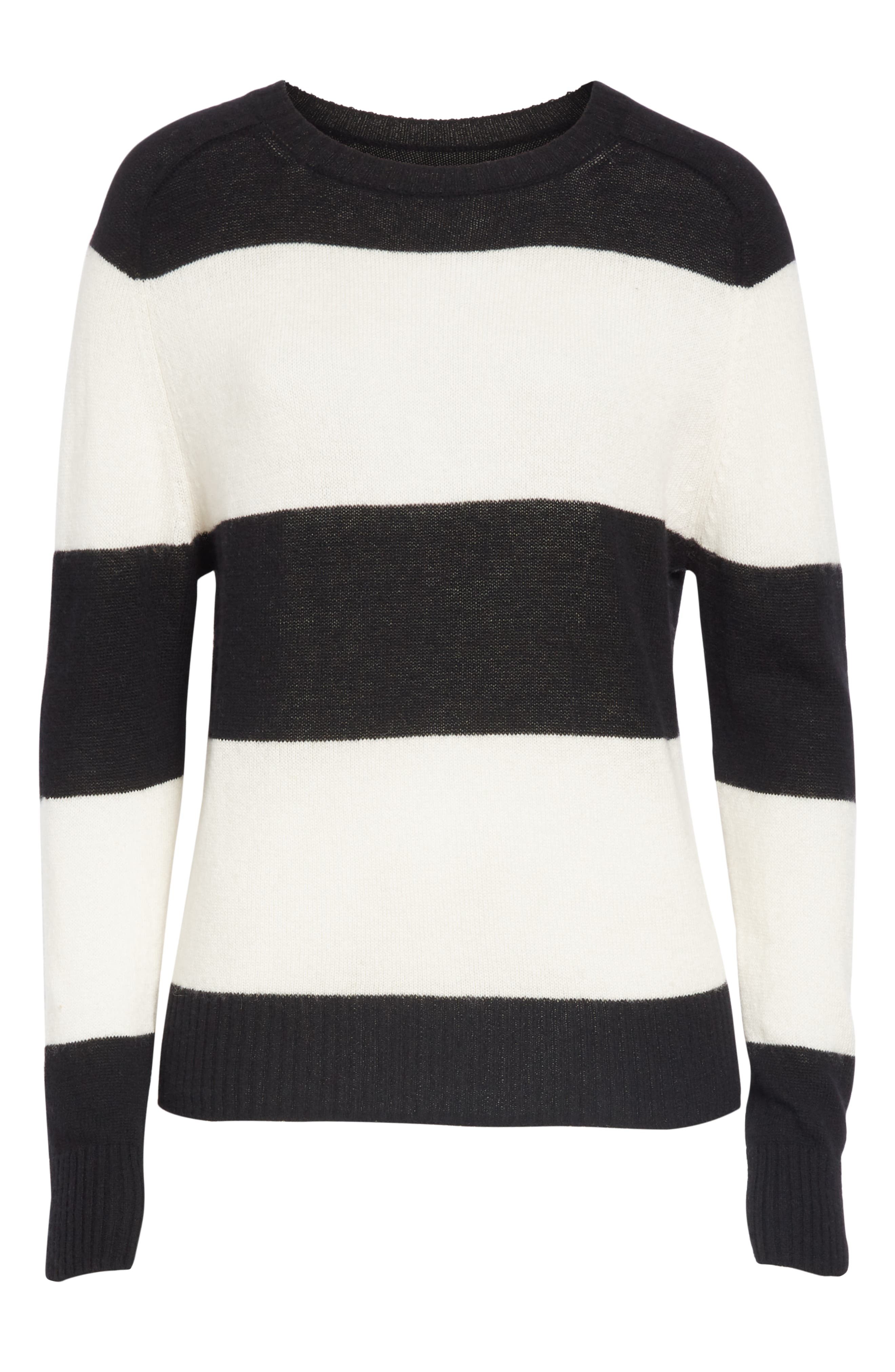 RE/DONE, Stripe Wool & Cashmere Sweater, Alternate thumbnail 6, color, BLACK/ IVORY