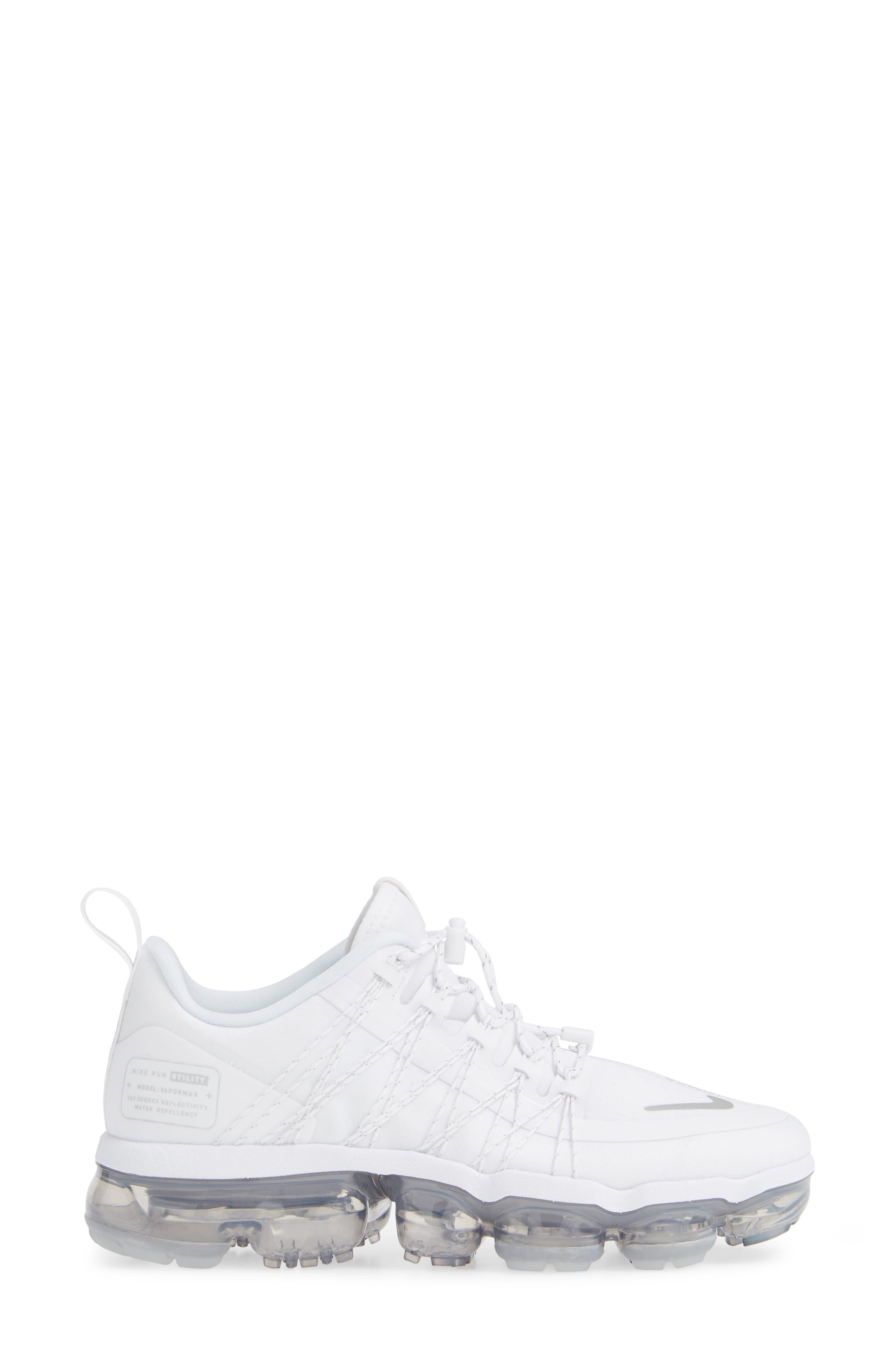 NIKE, Air VaporMax Run Utility Sneaker, Alternate thumbnail 3, color, WHITE/ REFLECT SILVER/ WHITE