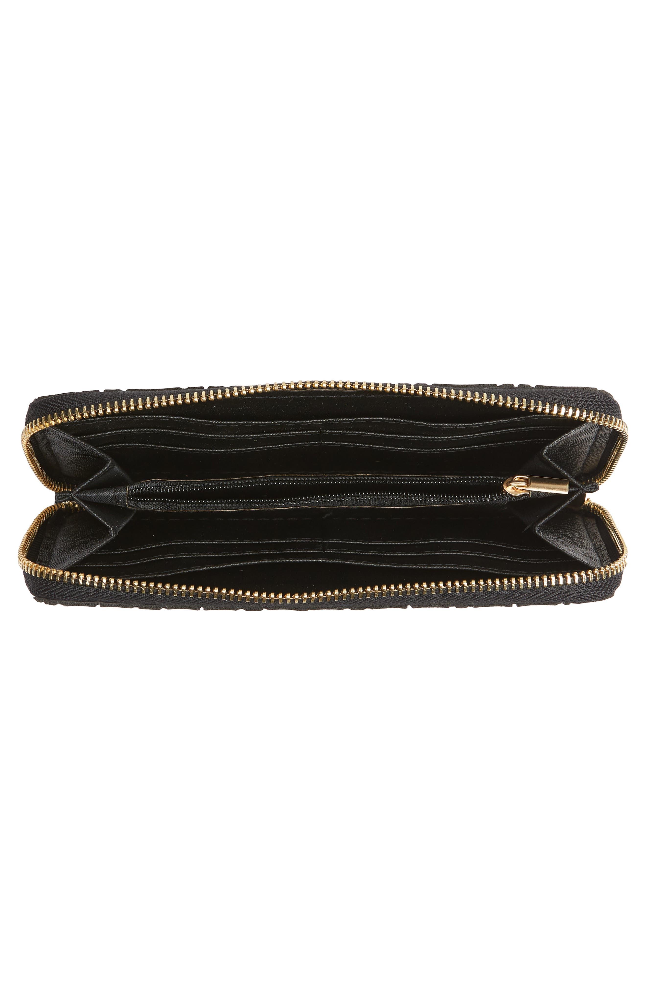 YOKI BAGS, Diamond Embossed Faux Leather Zip Wallet, Alternate thumbnail 5, color, 040