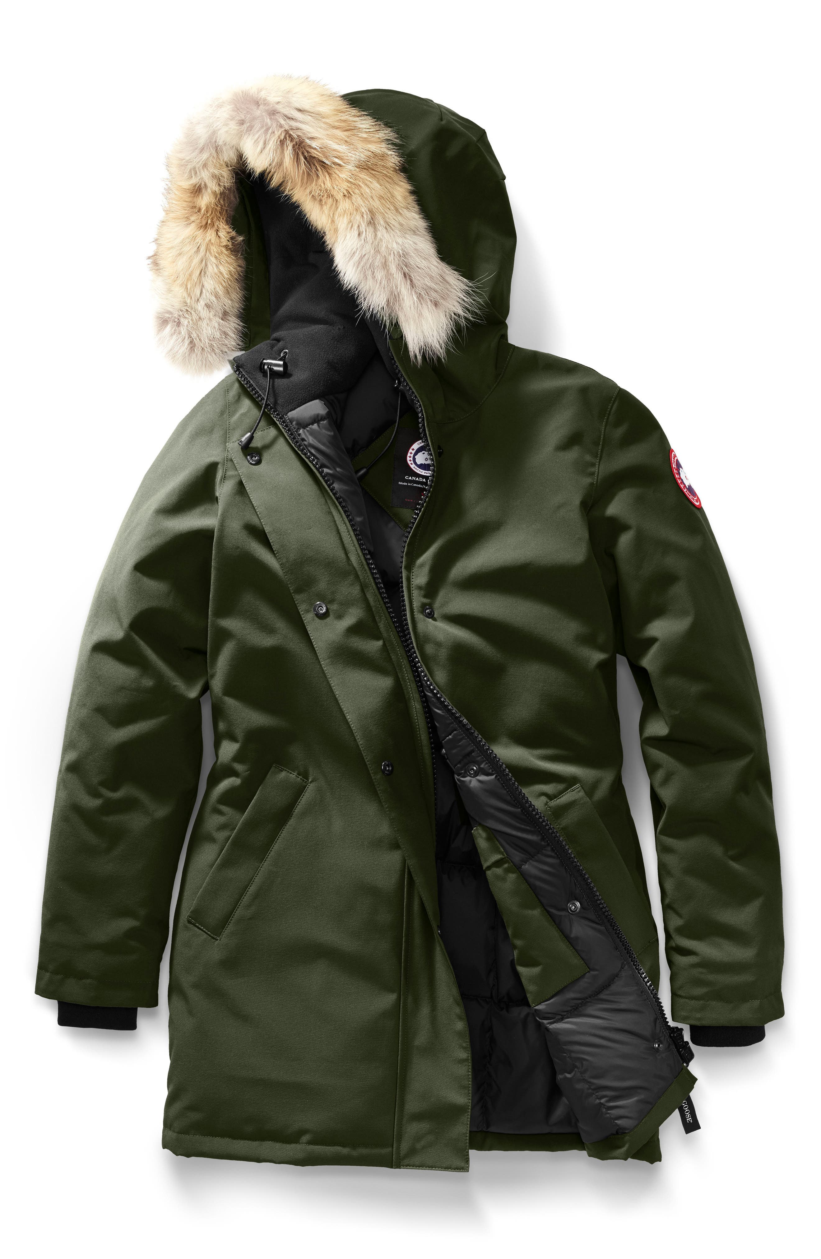CANADA GOOSE, Victoria Fusion Fit Down Parka with Genuine Coyote Fur Trim, Alternate thumbnail 5, color, MILITARY GREEN