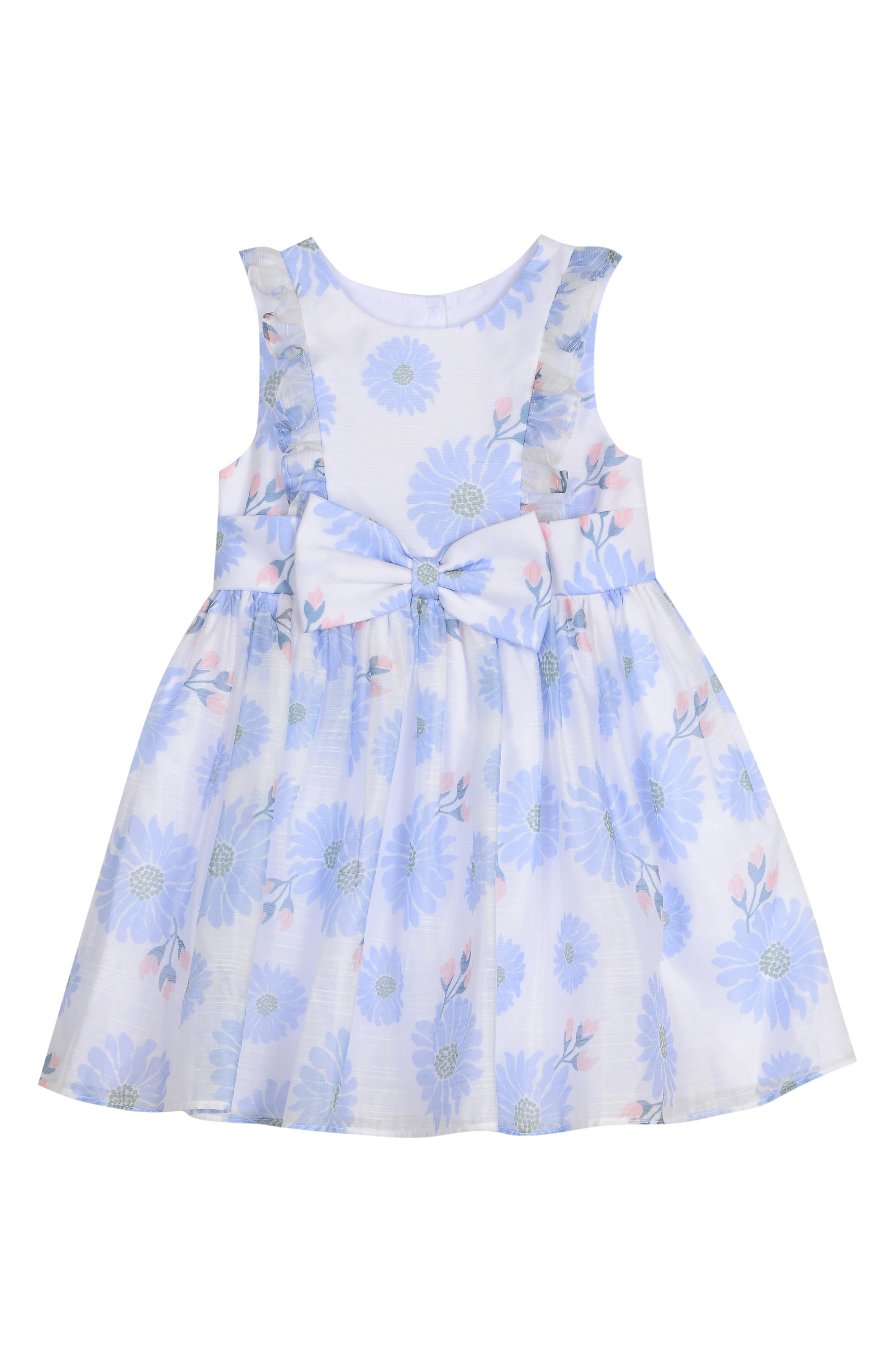 PIPPA & JULIE, Floral Bow Front Dress, Main thumbnail 1, color, WHITE/ BLUE