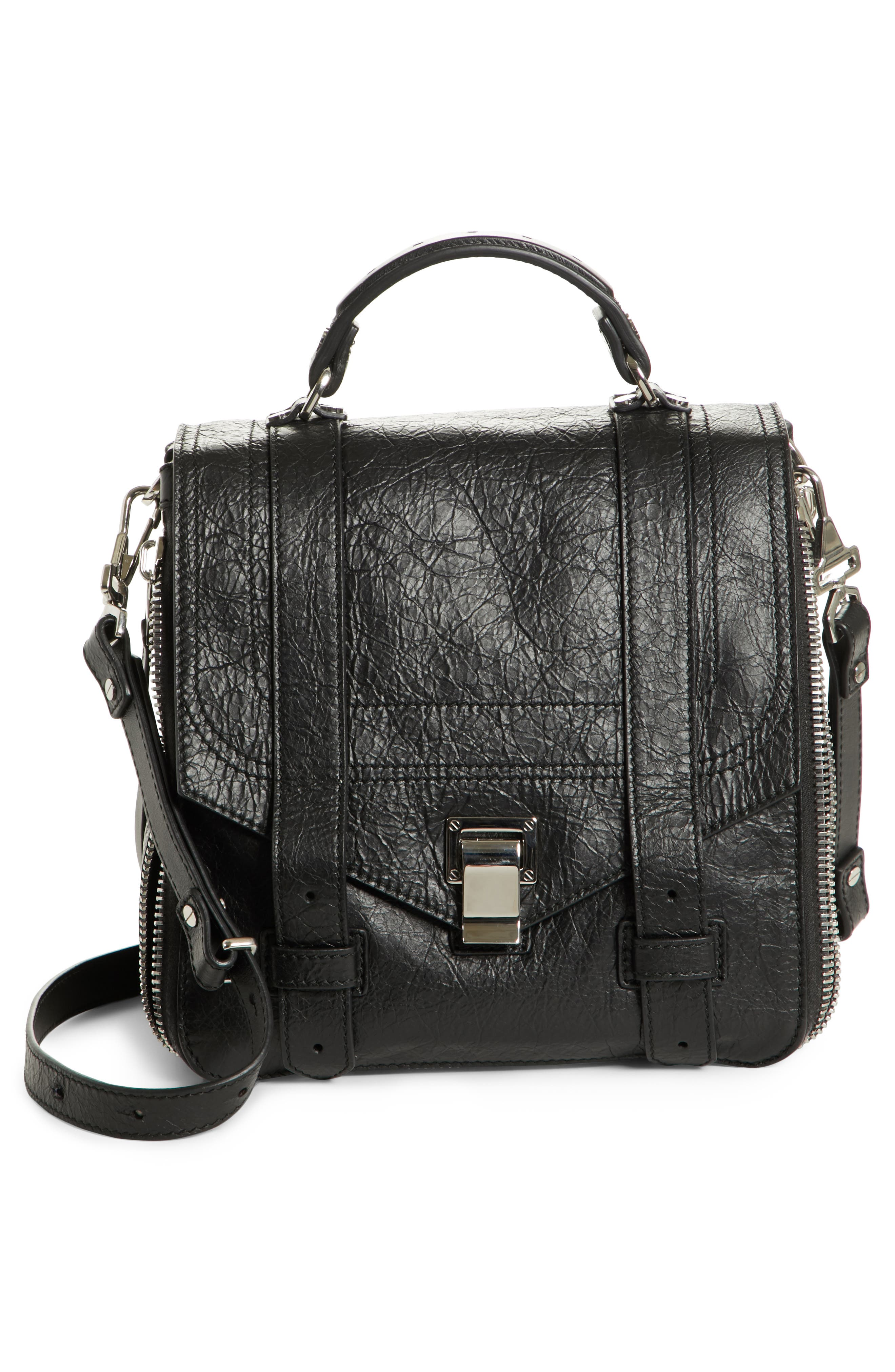 PROENZA SCHOULER, PS1 Leather Convertible Backpack, Alternate thumbnail 2, color, BLACK