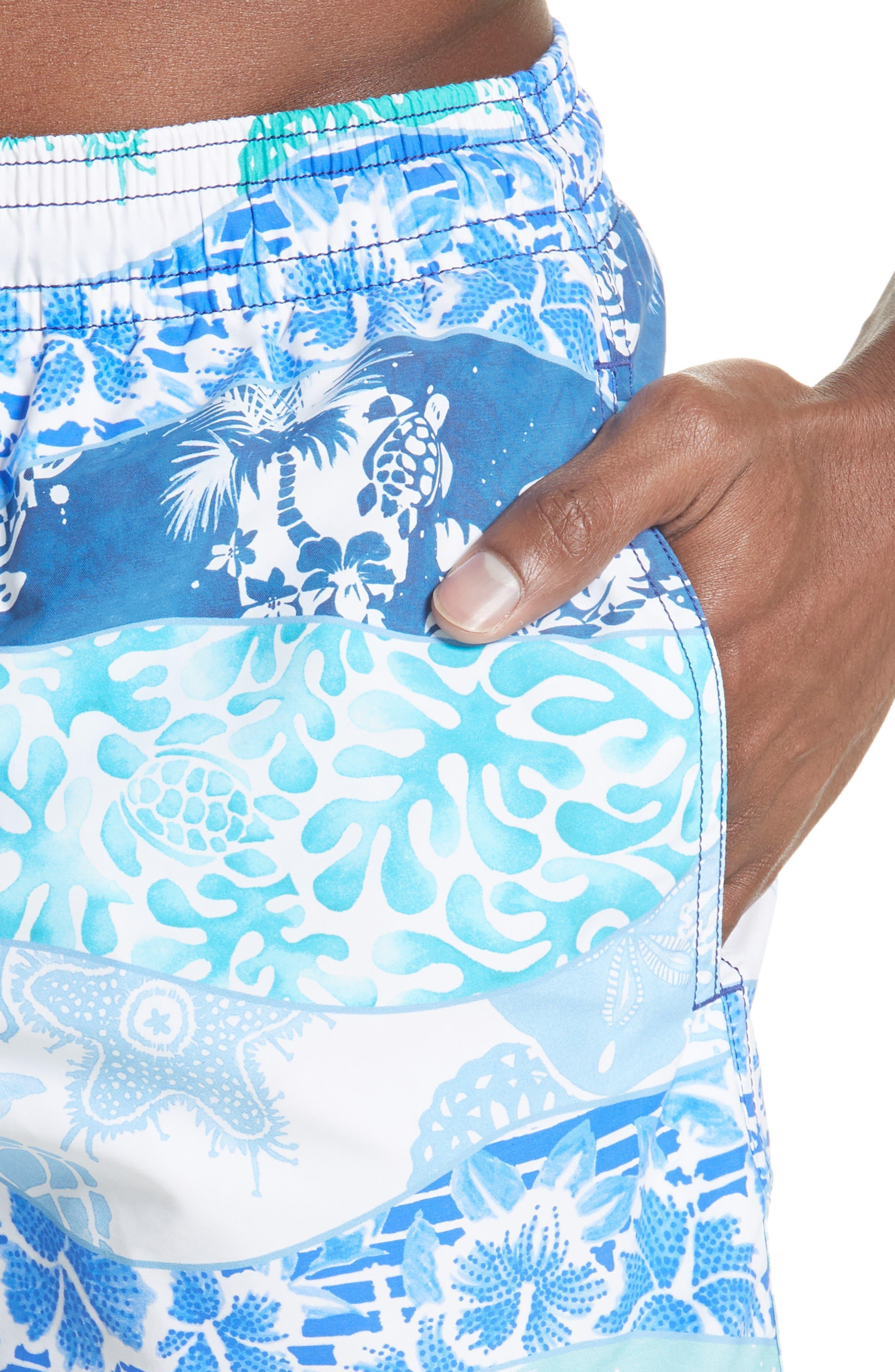 VILEBREQUIN, Vagues Heritage Swim Trunks, Alternate thumbnail 4, color, 401