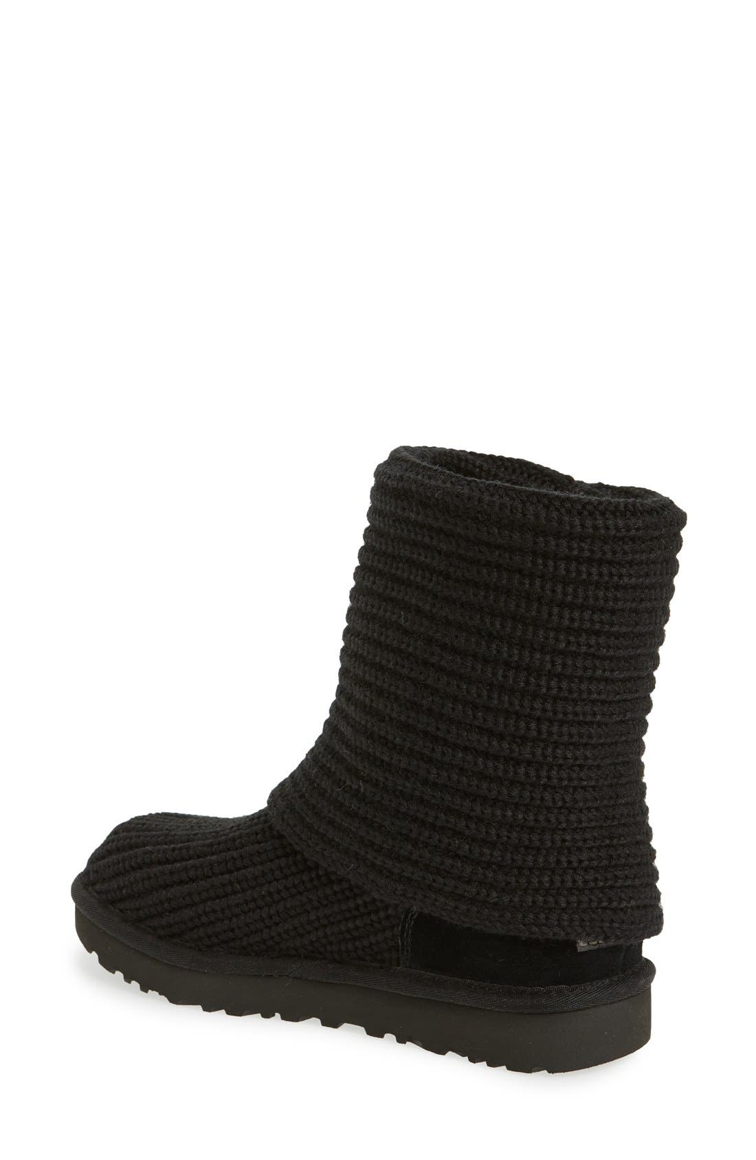 UGG<SUP>®</SUP>, Classic Cardy II Knit Boot, Alternate thumbnail 2, color, BLACK FABRIC