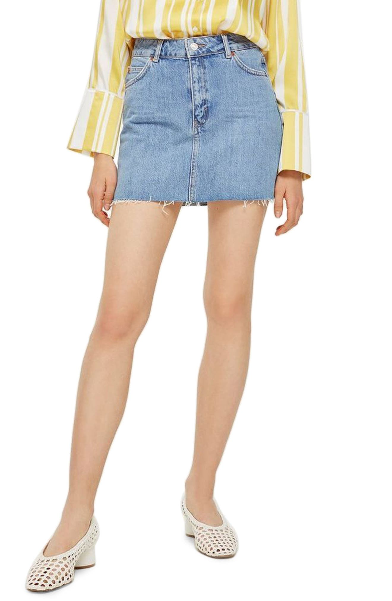 TOPSHOP Denim Miniskirt, Main, color, MID DENIM