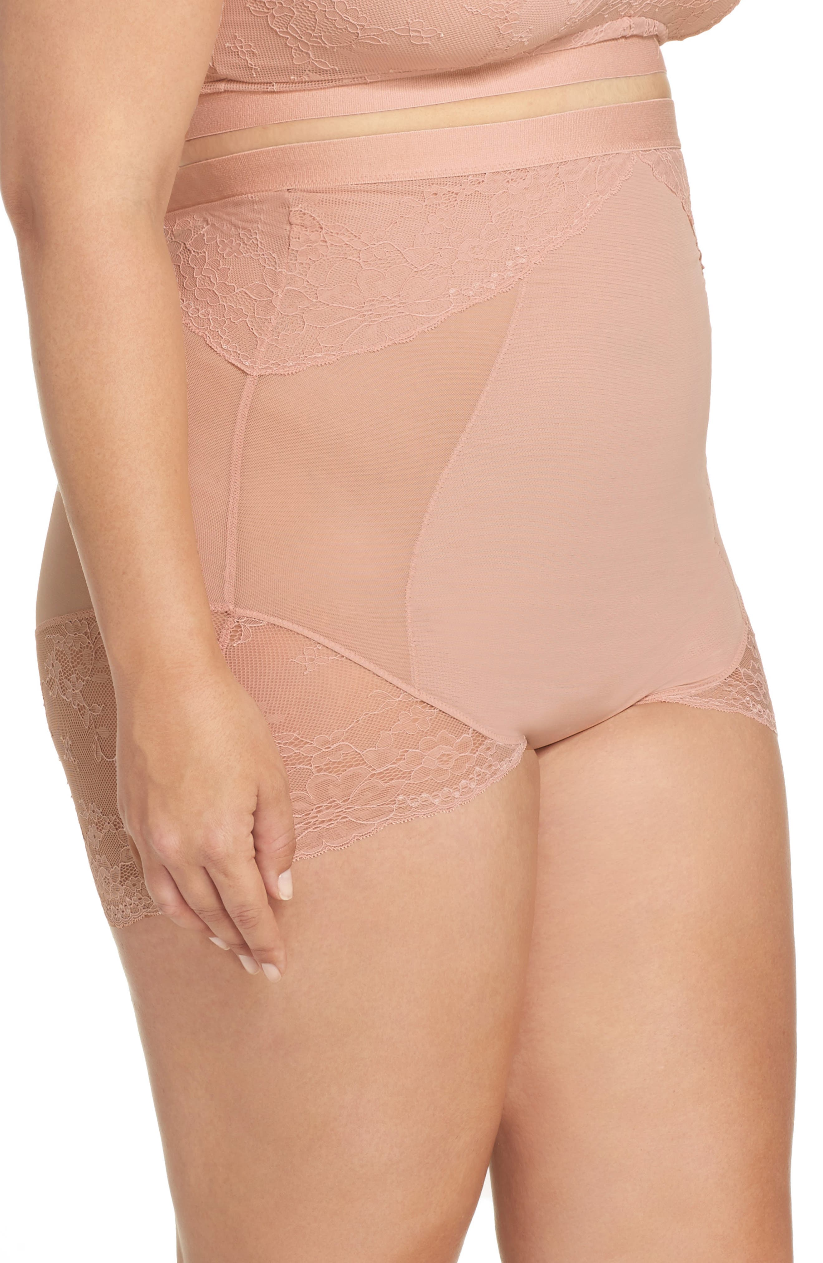 SPANX<SUP>®</SUP>, On Lace High Waist Briefs, Alternate thumbnail 3, color, VINTAGE ROSE