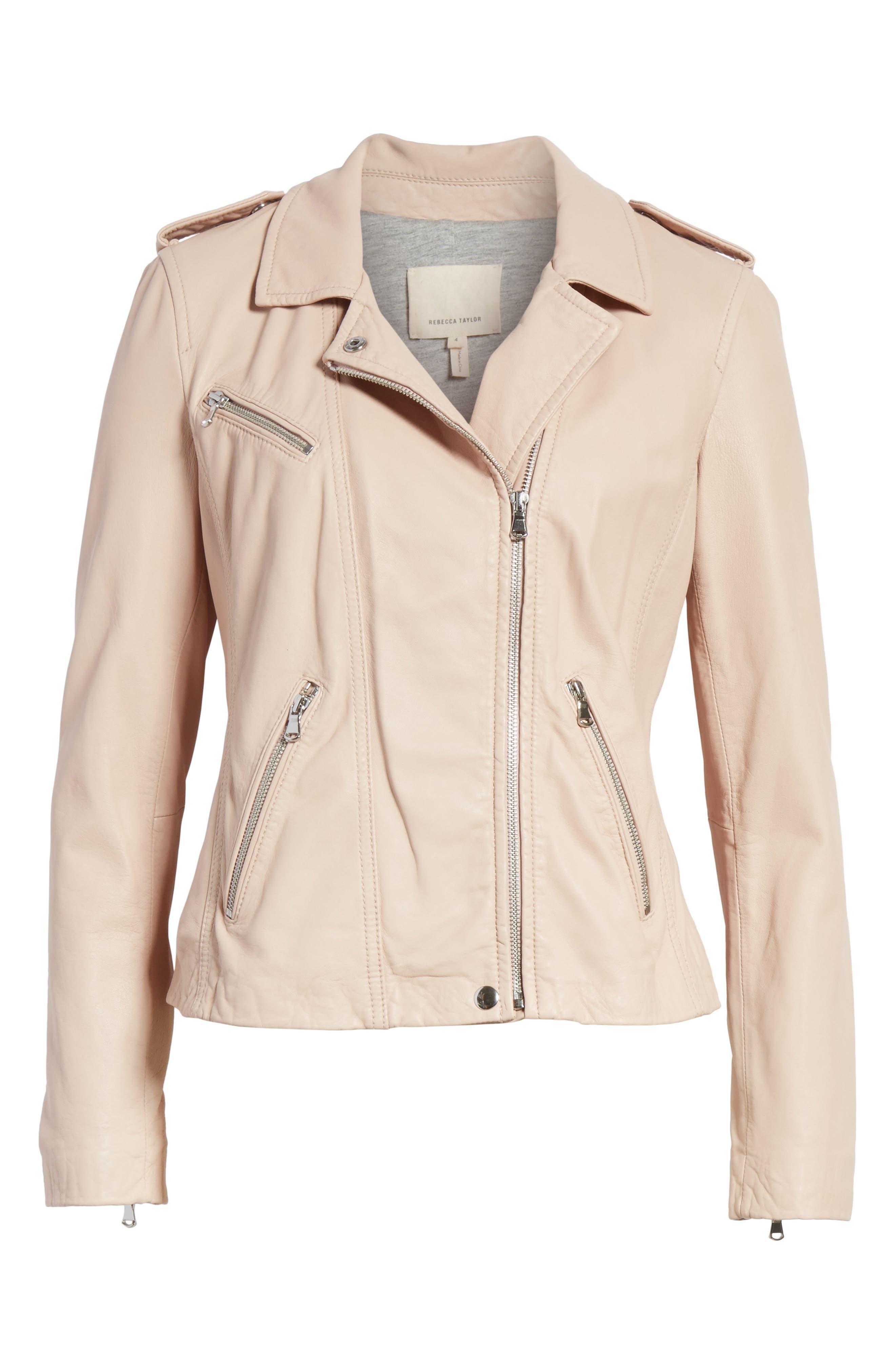 REBECCA TAYLOR, Leather Moto Jacket, Alternate thumbnail 5, color, NUDE