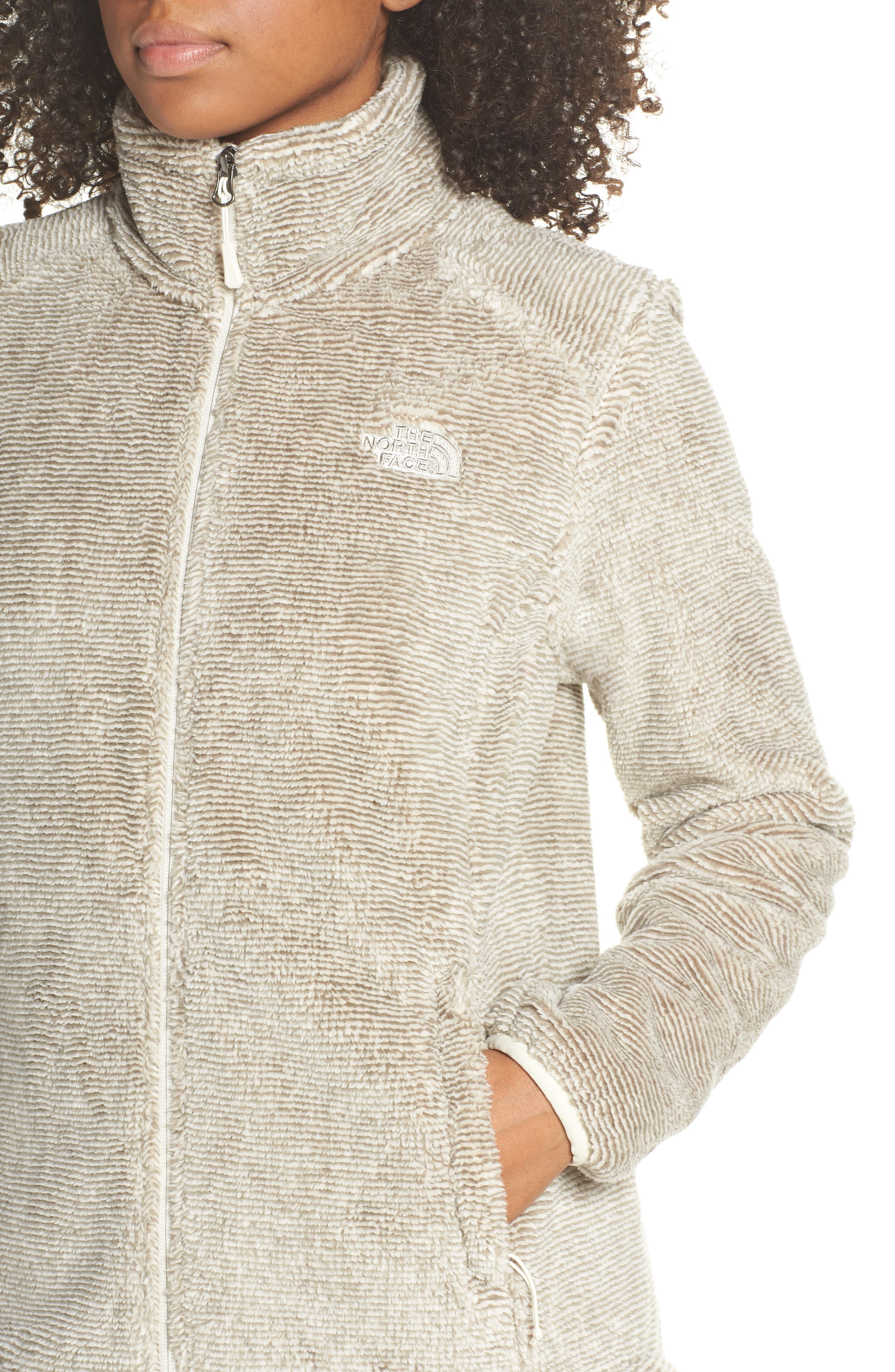 THE NORTH FACE, Osito 2 Stripe Fleece Jacket, Alternate thumbnail 5, color, GREY/ VINTAGE WHITE STRIPE