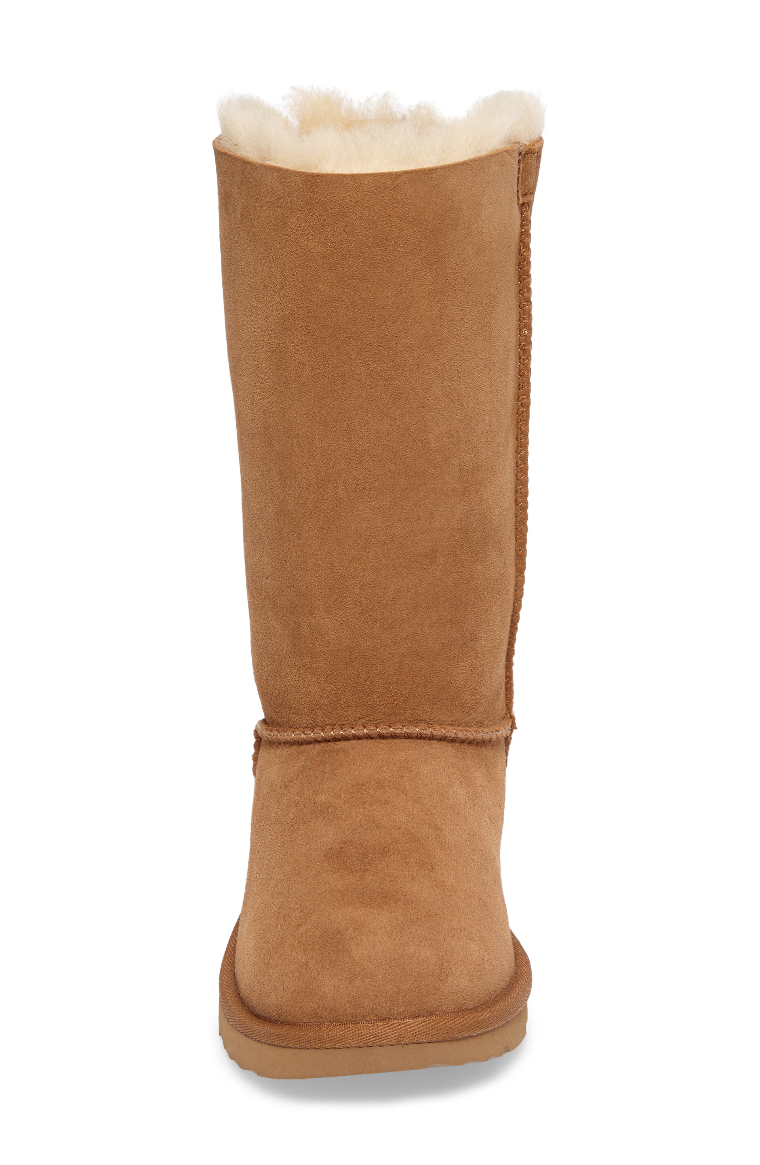 UGG<SUP>®</SUP>, Bailey Bow Tall II Water Resistant Genuine Shearling Boot, Alternate thumbnail 4, color, CHESTNUT BROWN