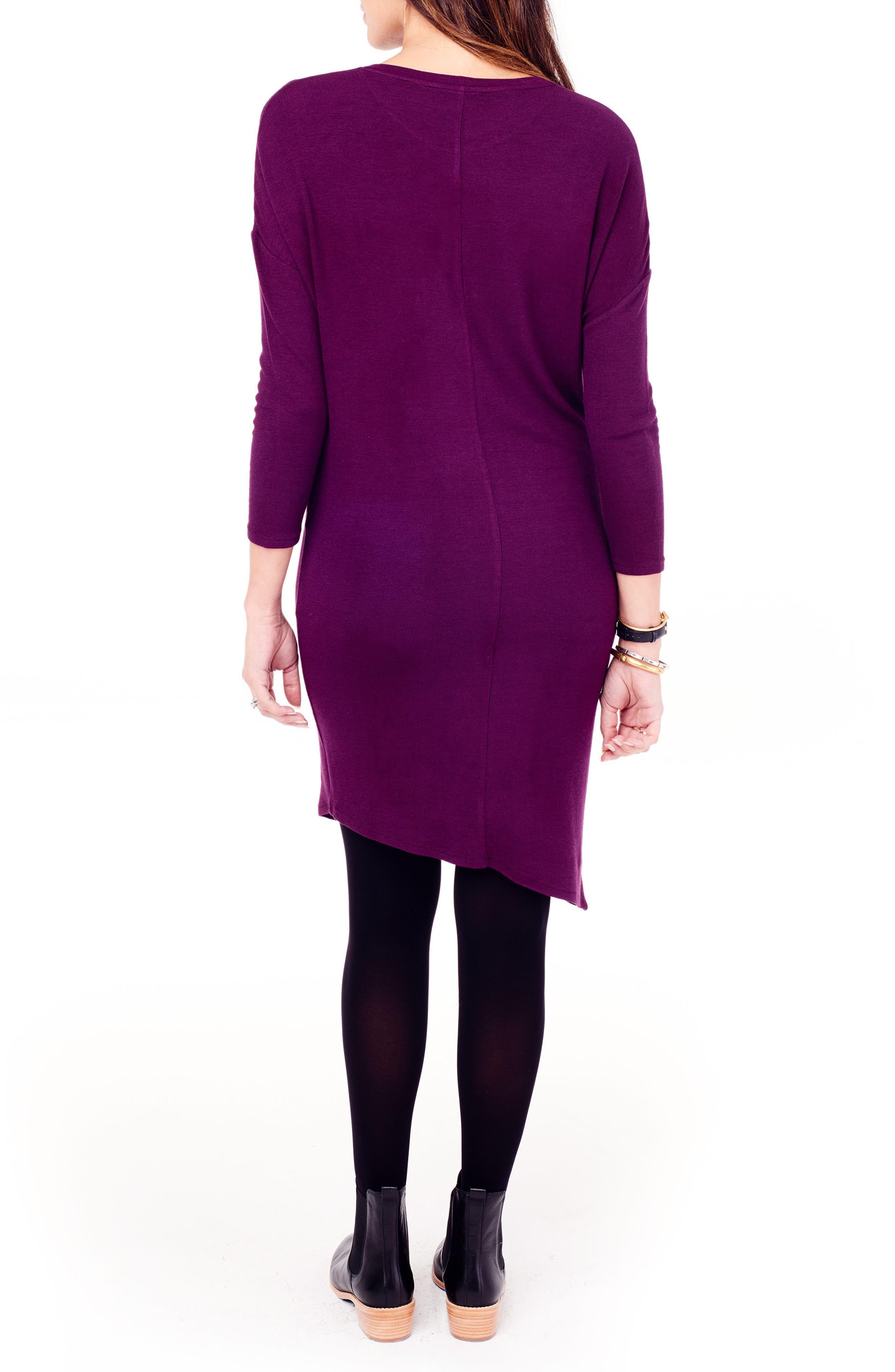 INGRID & ISABEL<SUP>®</SUP>, Asymmetrical Maternity Dress, Alternate thumbnail 2, color, PLUM