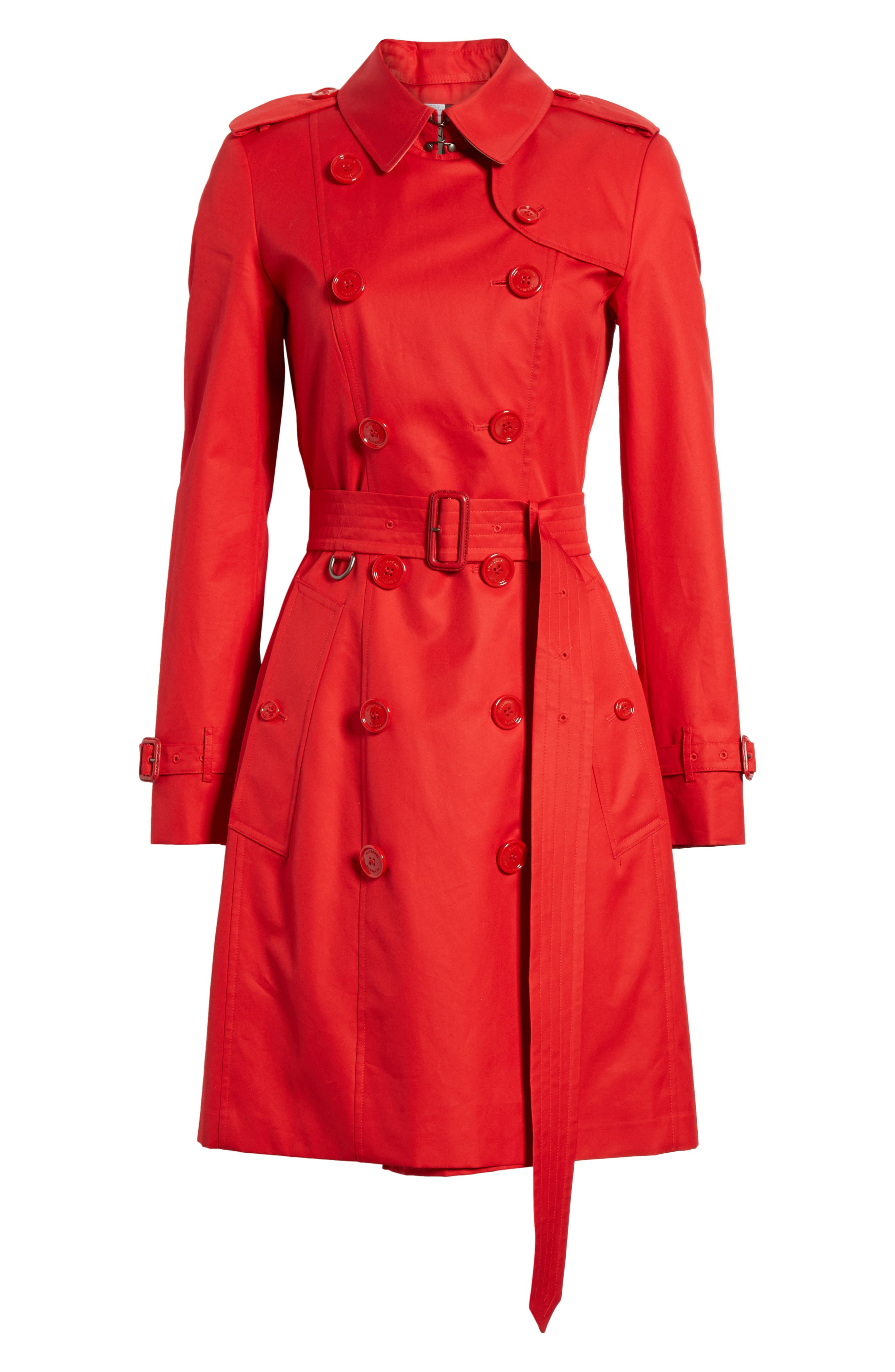 BURBERRY, The Chelsea Cotton Gabardine Trench Coat, Alternate thumbnail 6, color, BRIGHT RED