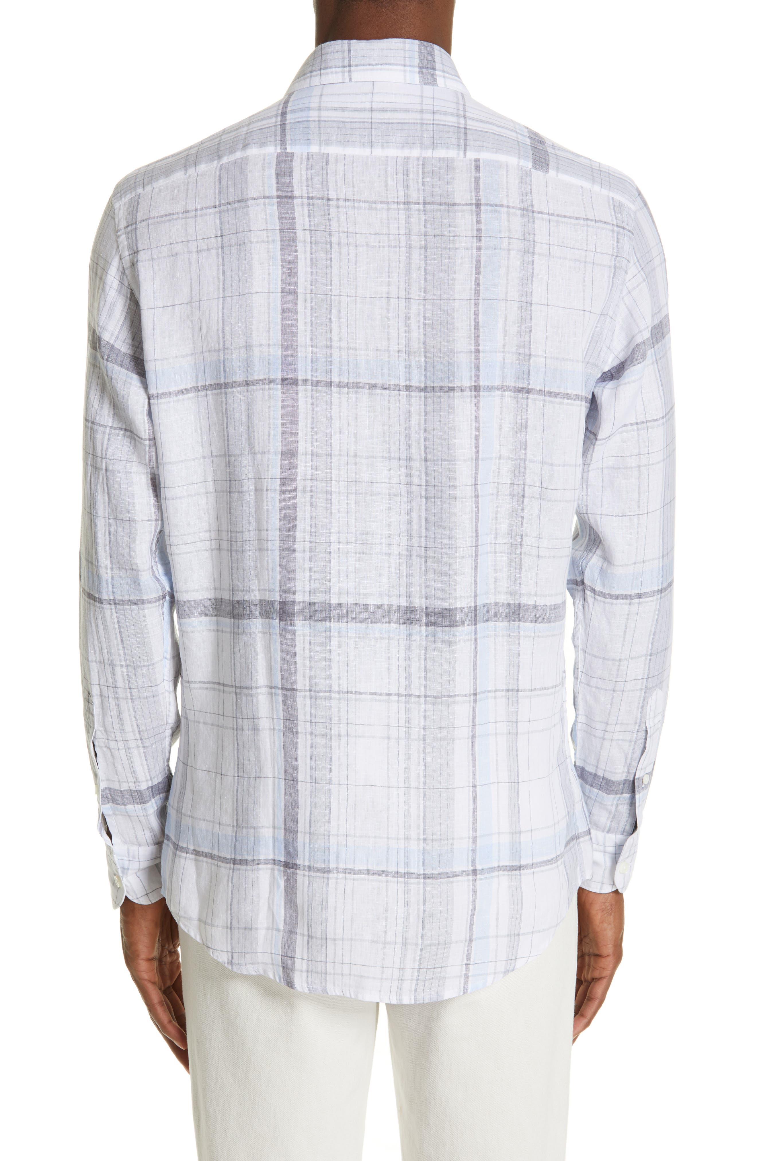 ERMENEGILDO ZEGNA, Regular Fit Plaid Linen Sport Shirt, Alternate thumbnail 3, color, BLUE