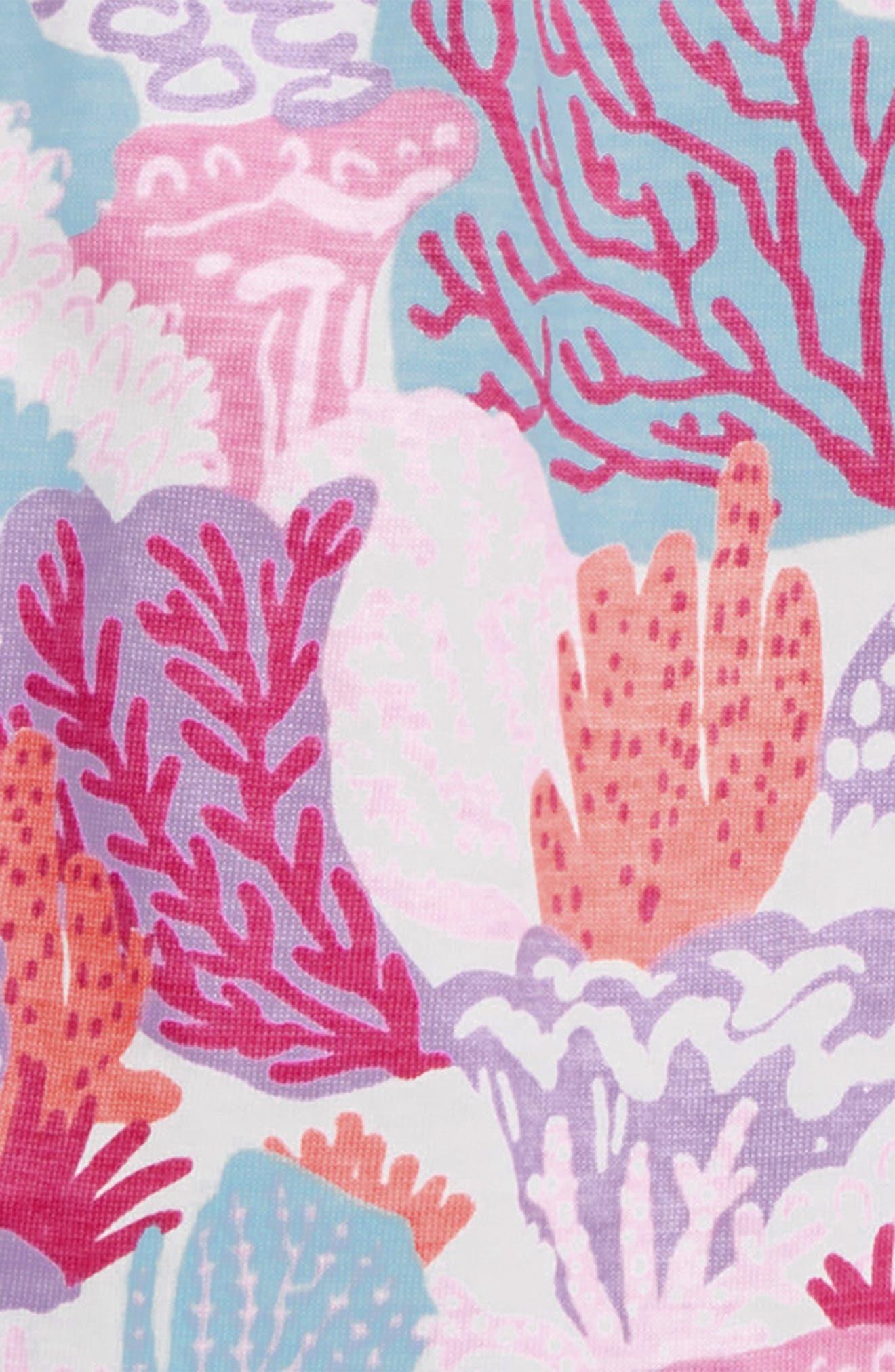 HATLEY, Island Reef Flutter Sleeve Dress, Alternate thumbnail 3, color, WHITE