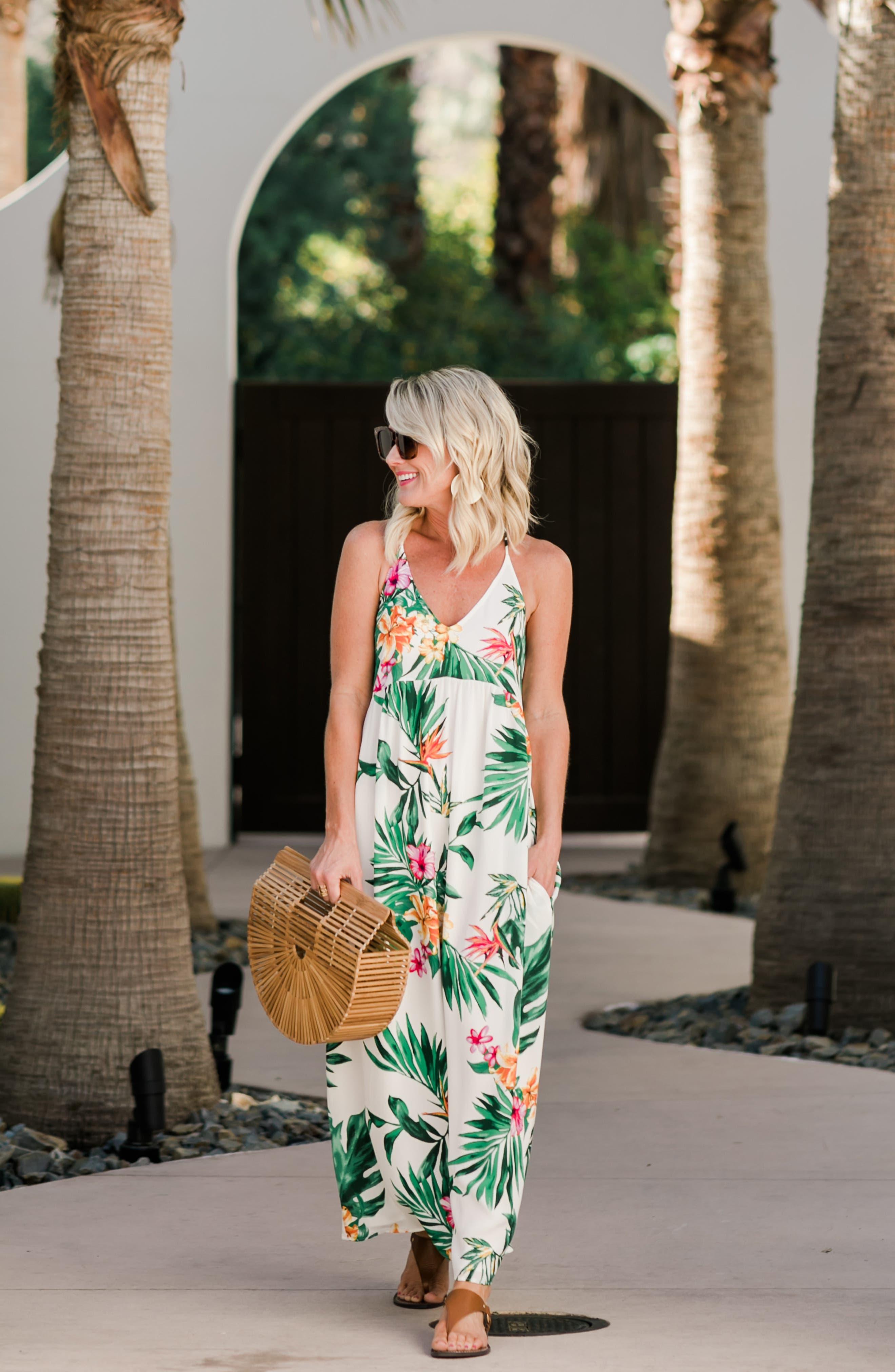 GIBSON, x Hi Sugarplum! Palm Springs Festival Maxi Dress, Alternate thumbnail 7, color, BIRD OF PARADISE