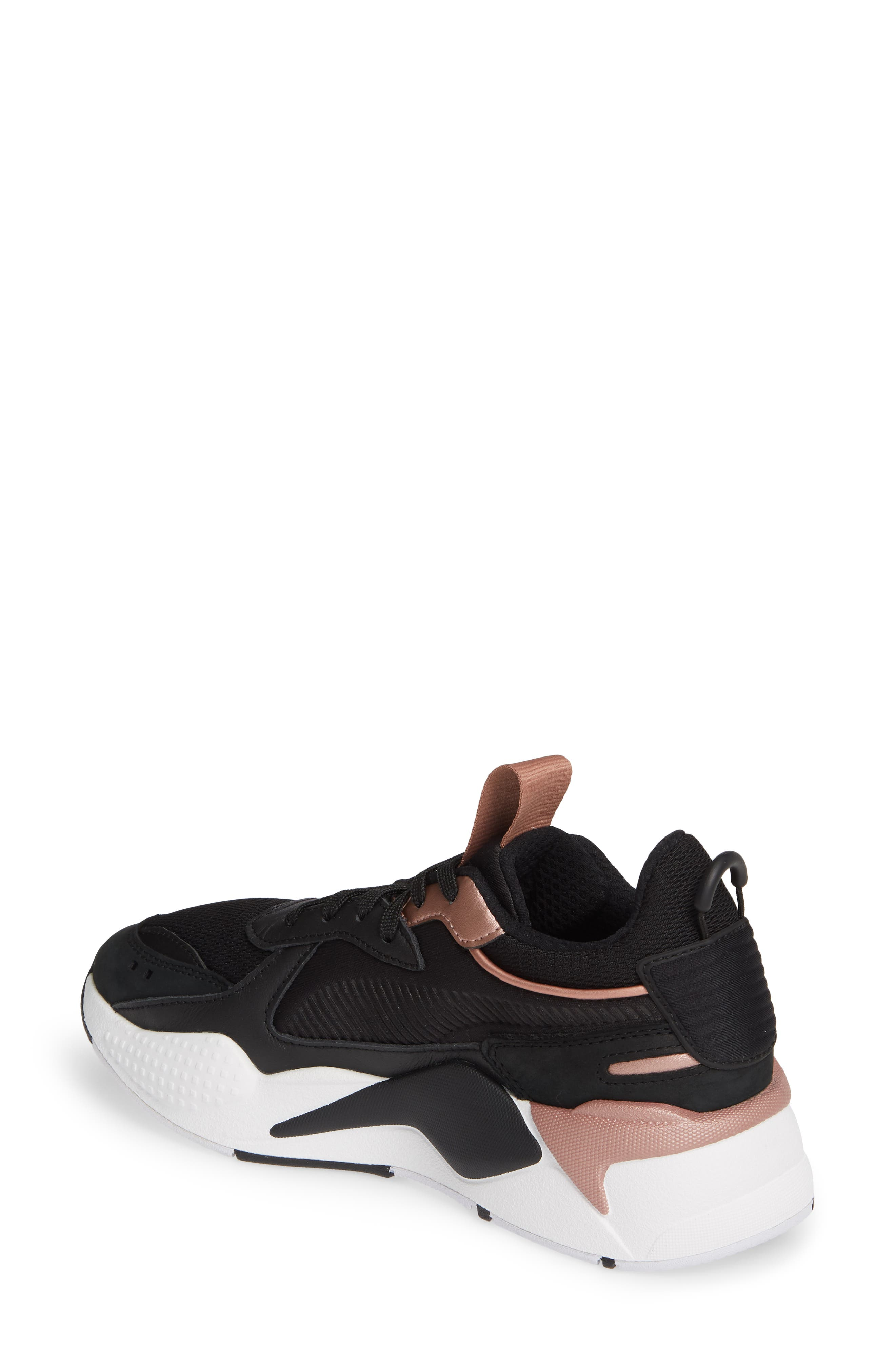 PUMA, RS-X Trophy Sneaker, Alternate thumbnail 2, color, BLACK/ ROSE GOLD
