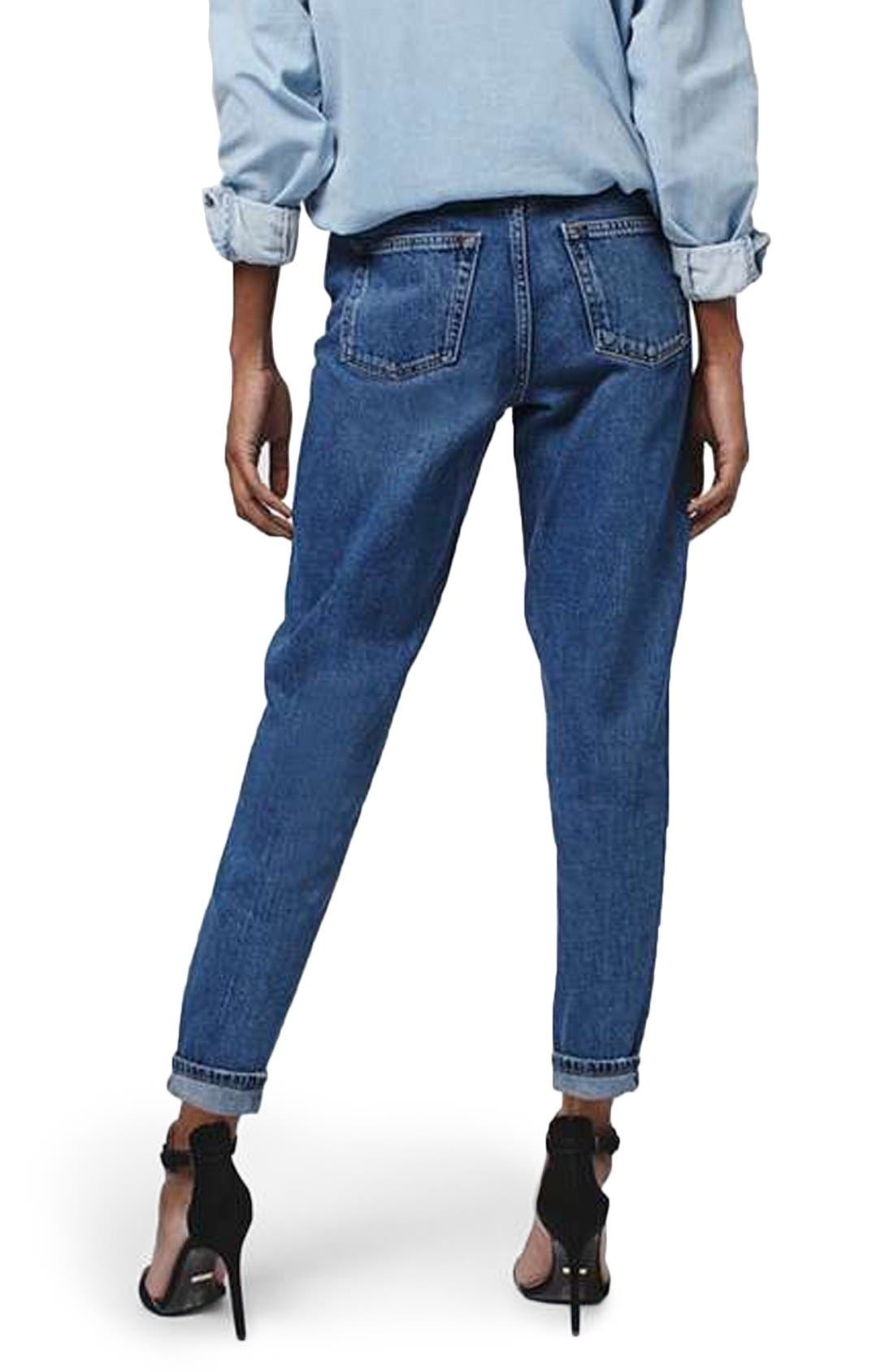 TOPSHOP, 'Mom' High Rise Jeans, Alternate thumbnail 2, color, 400