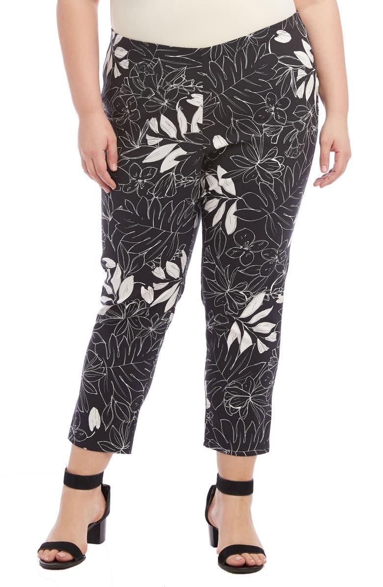 Karen Kane Pants LEAF PRINT PIPER PANTS