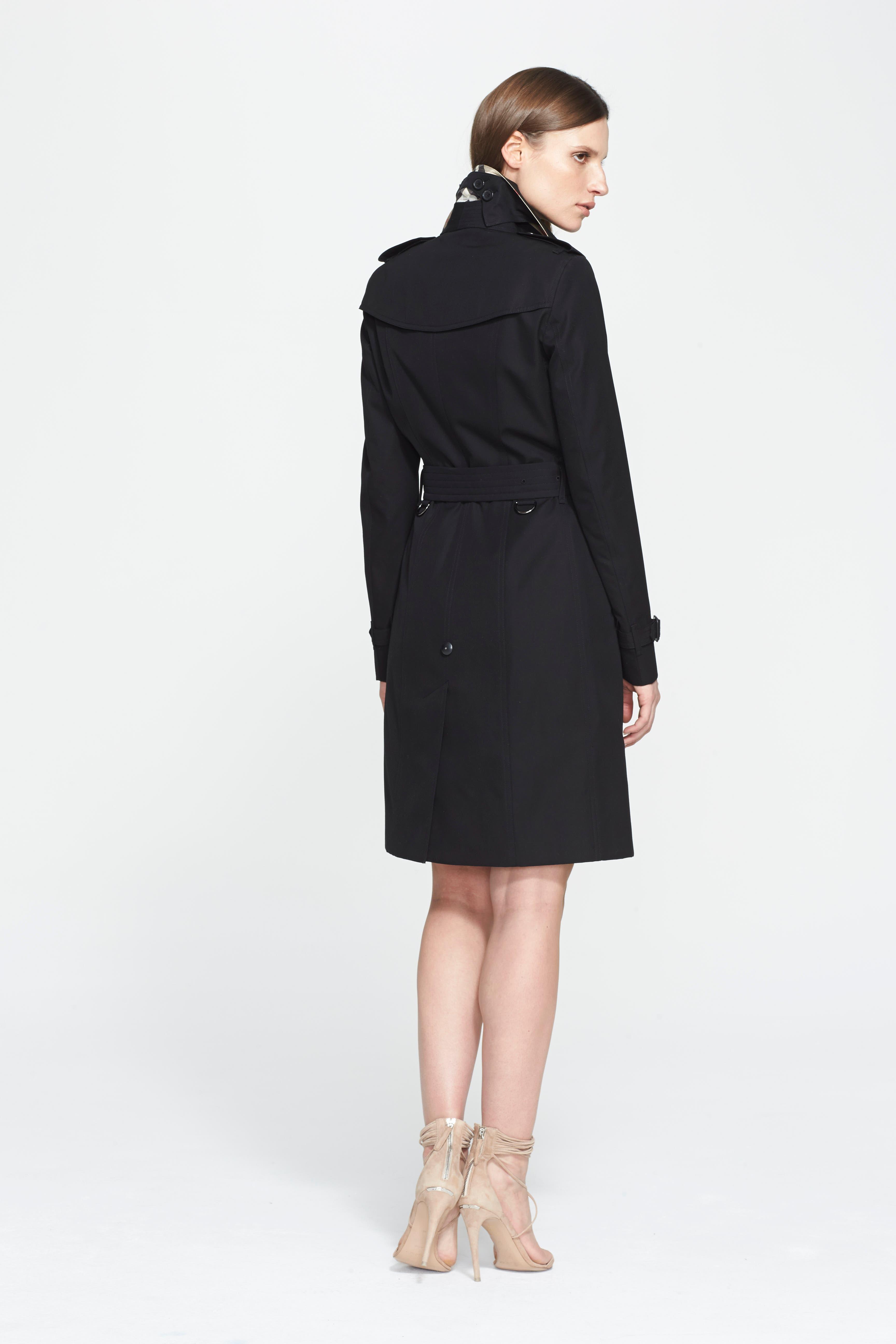 BURBERRY, Sandringham Long Slim Trench Coat, Alternate thumbnail 2, color, BLACK