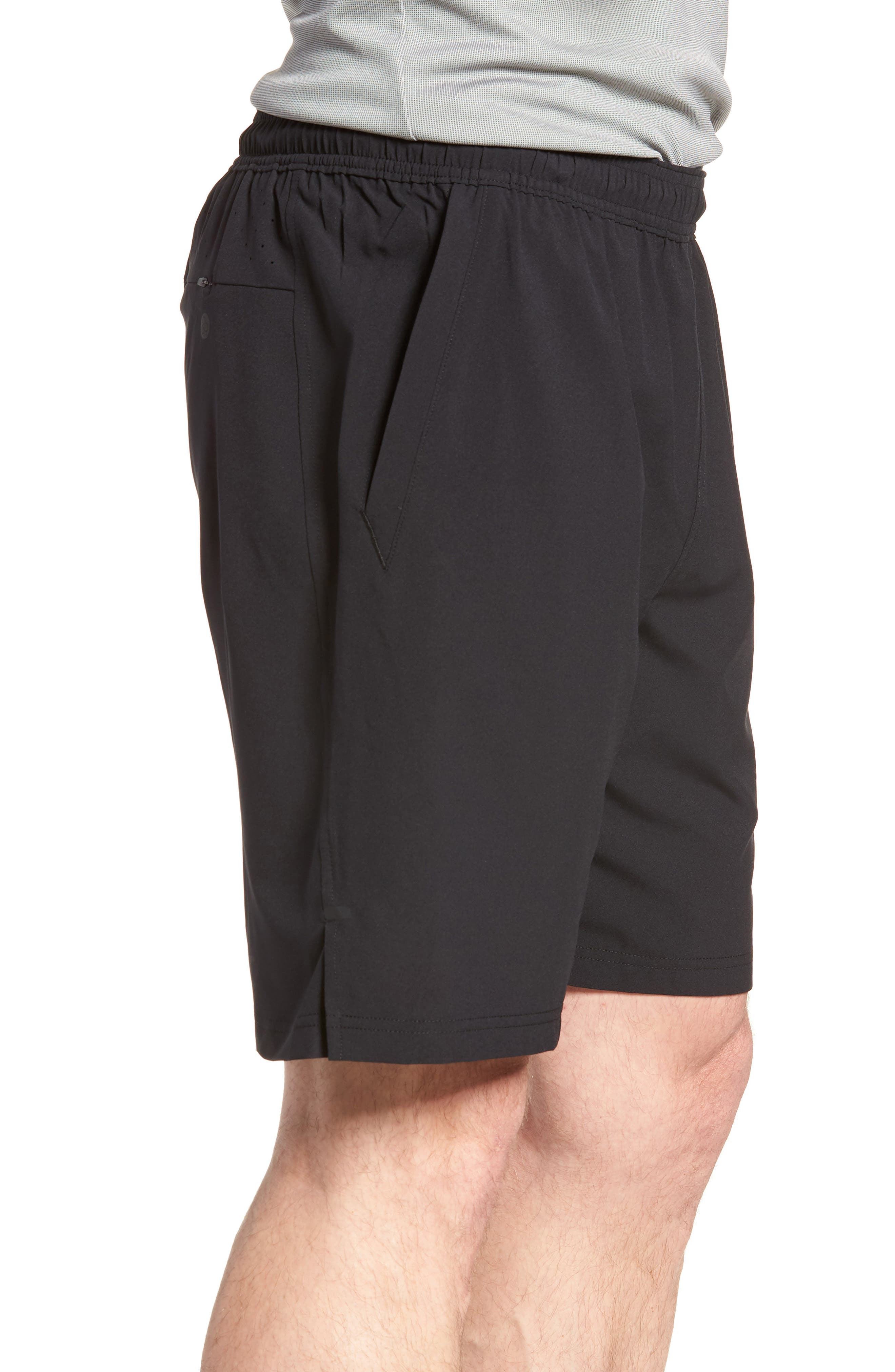 ZELLA, Graphite Perforated Shorts, Alternate thumbnail 4, color, BLACK