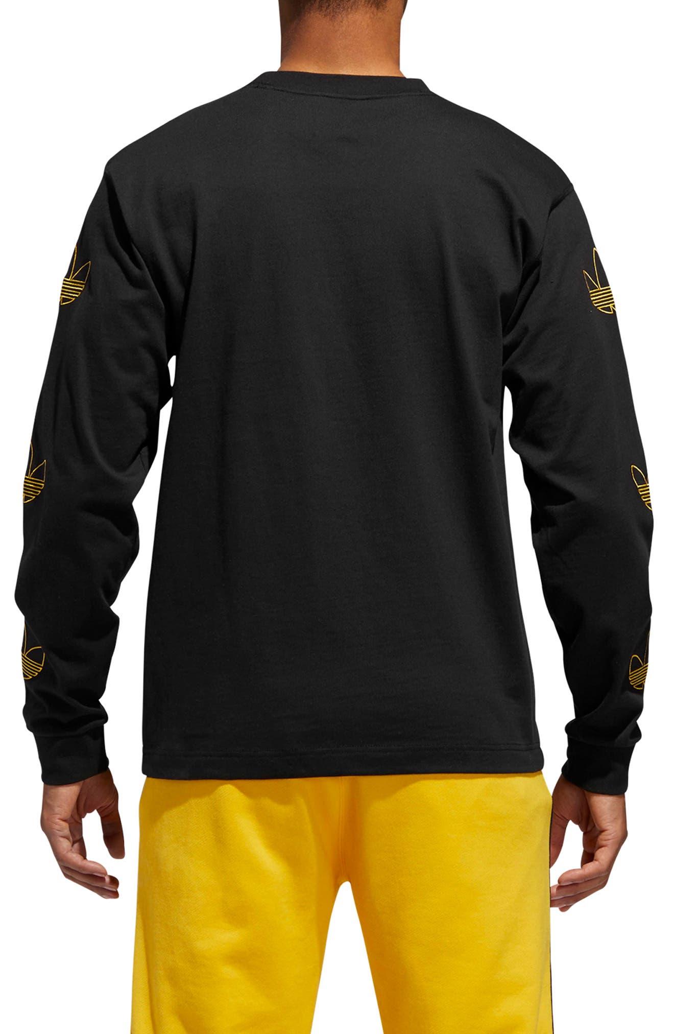 ADIDAS ORIGINALS, Embroidered Trefoil Long Sleeve T-Shirt, Alternate thumbnail 2, color, BLACK/ WHITE