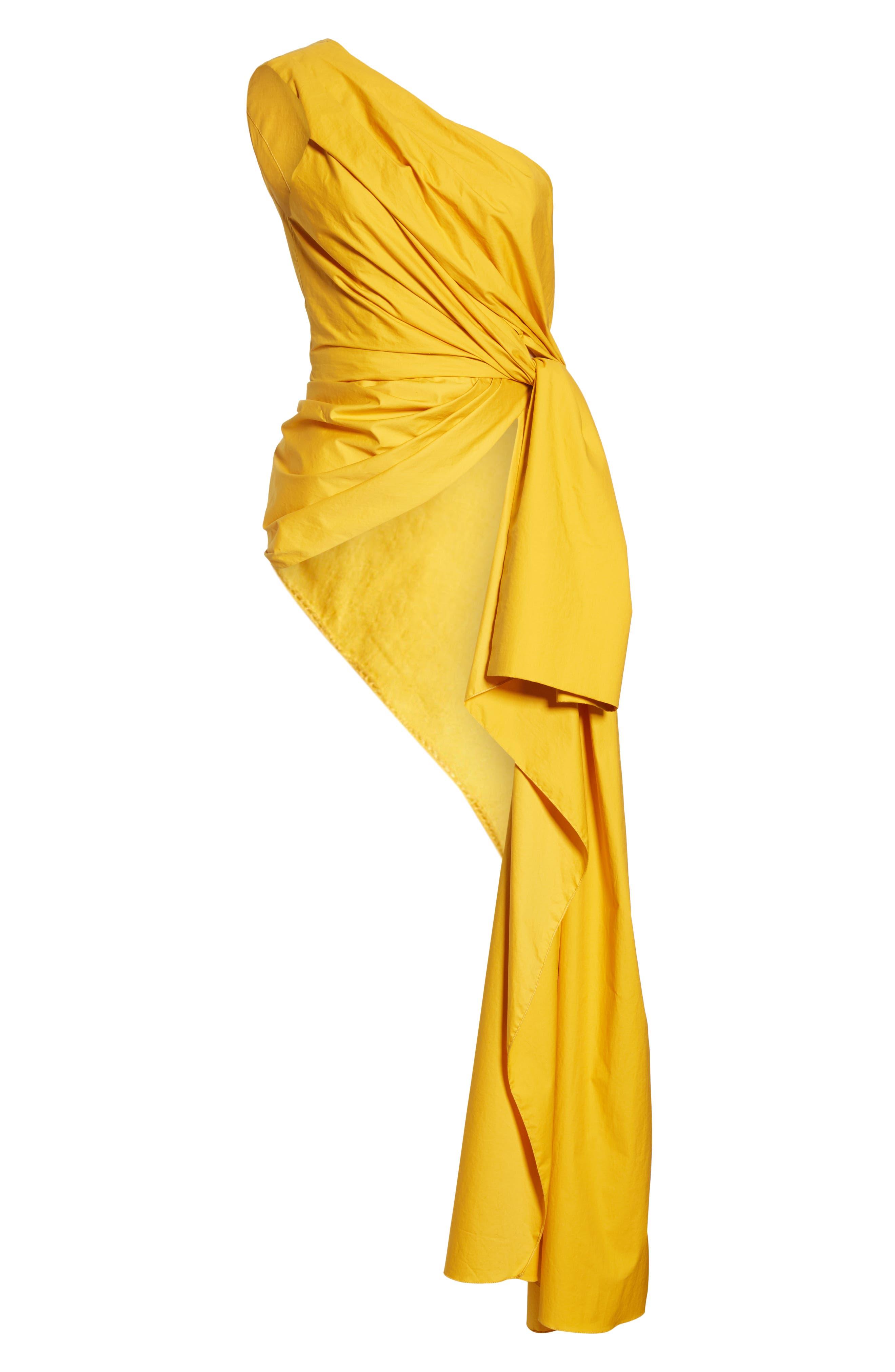 JOHANNA ORTIZ, One-Shoulder Asymmetrical Stretch Poplin Top, Alternate thumbnail 6, color, DANDELION