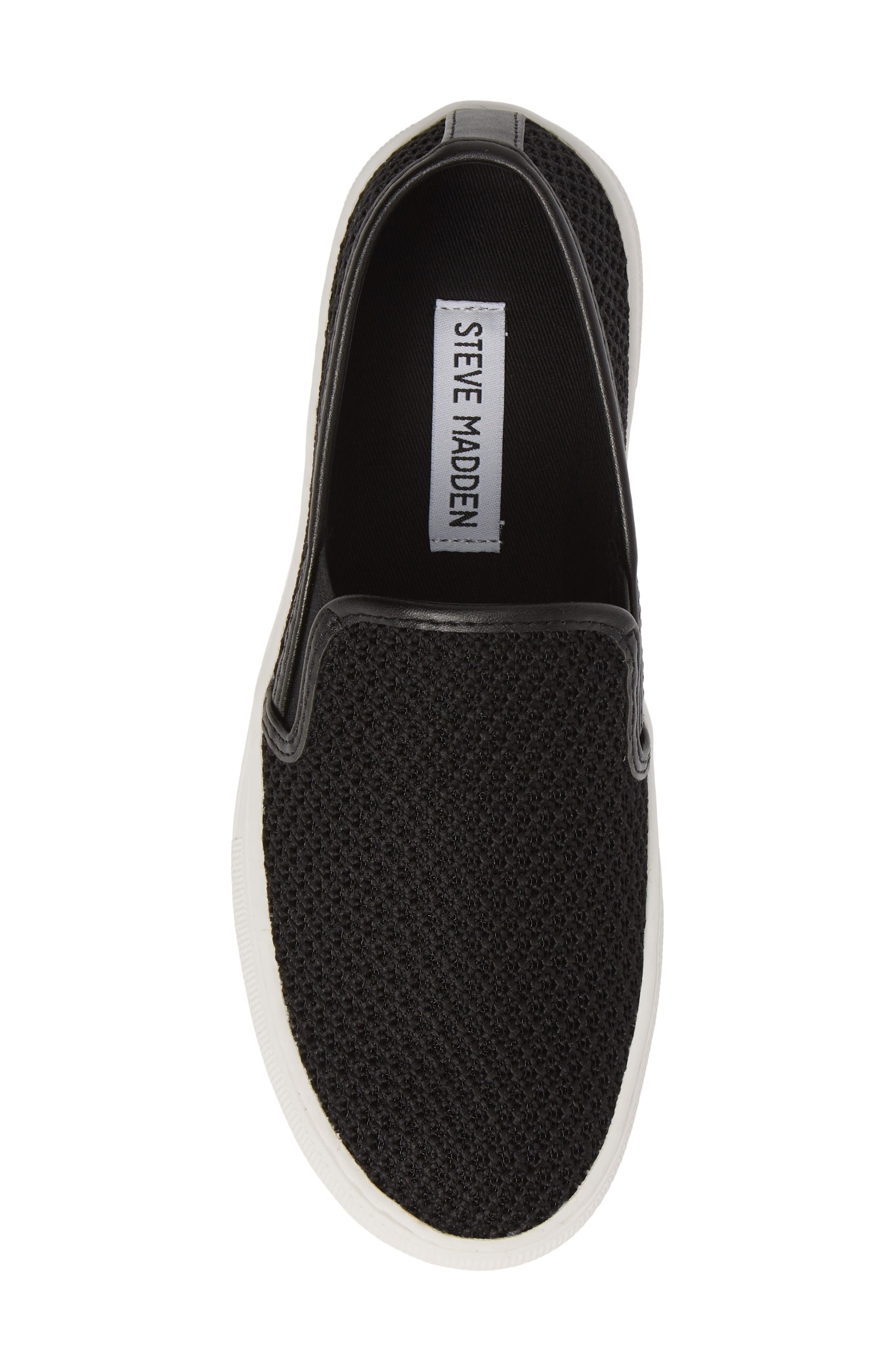 STEVE MADDEN, Gills-M Mesh Slip-On Sneaker, Alternate thumbnail 5, color, BLACK