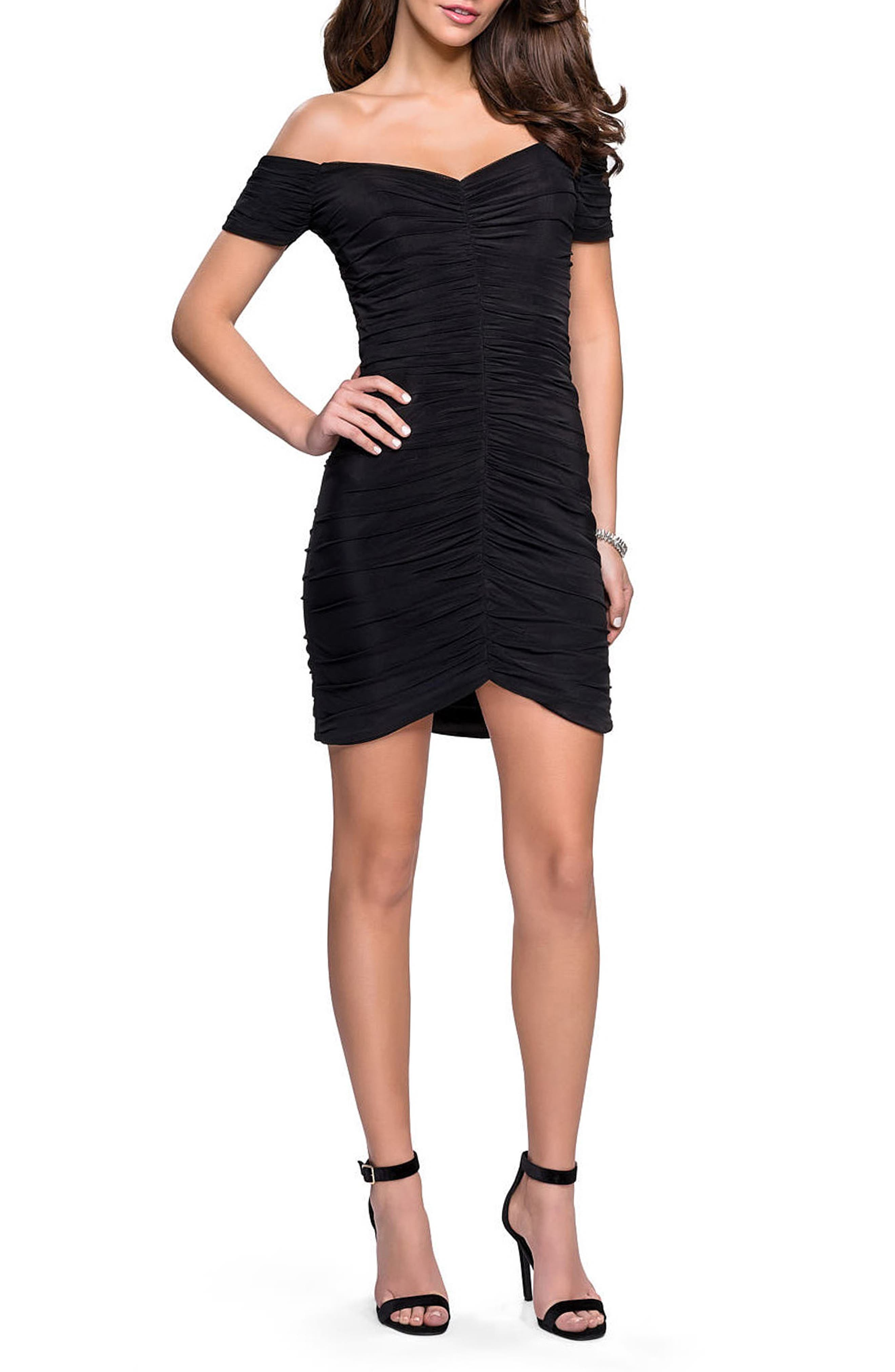 LA FEMME, Off the Shoulder Ruched Party Dress, Main thumbnail 1, color, BLACK