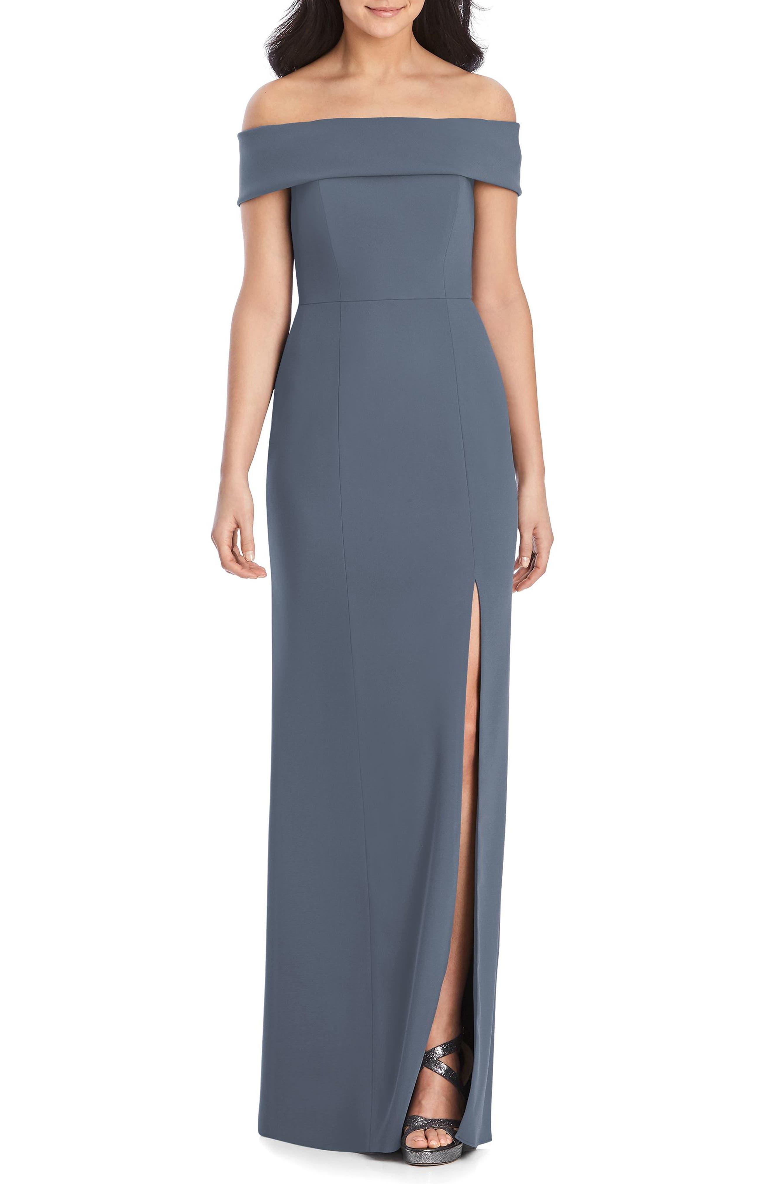 Dessy Collection Off The Shoulder Side Slit Crepe Gown, Grey