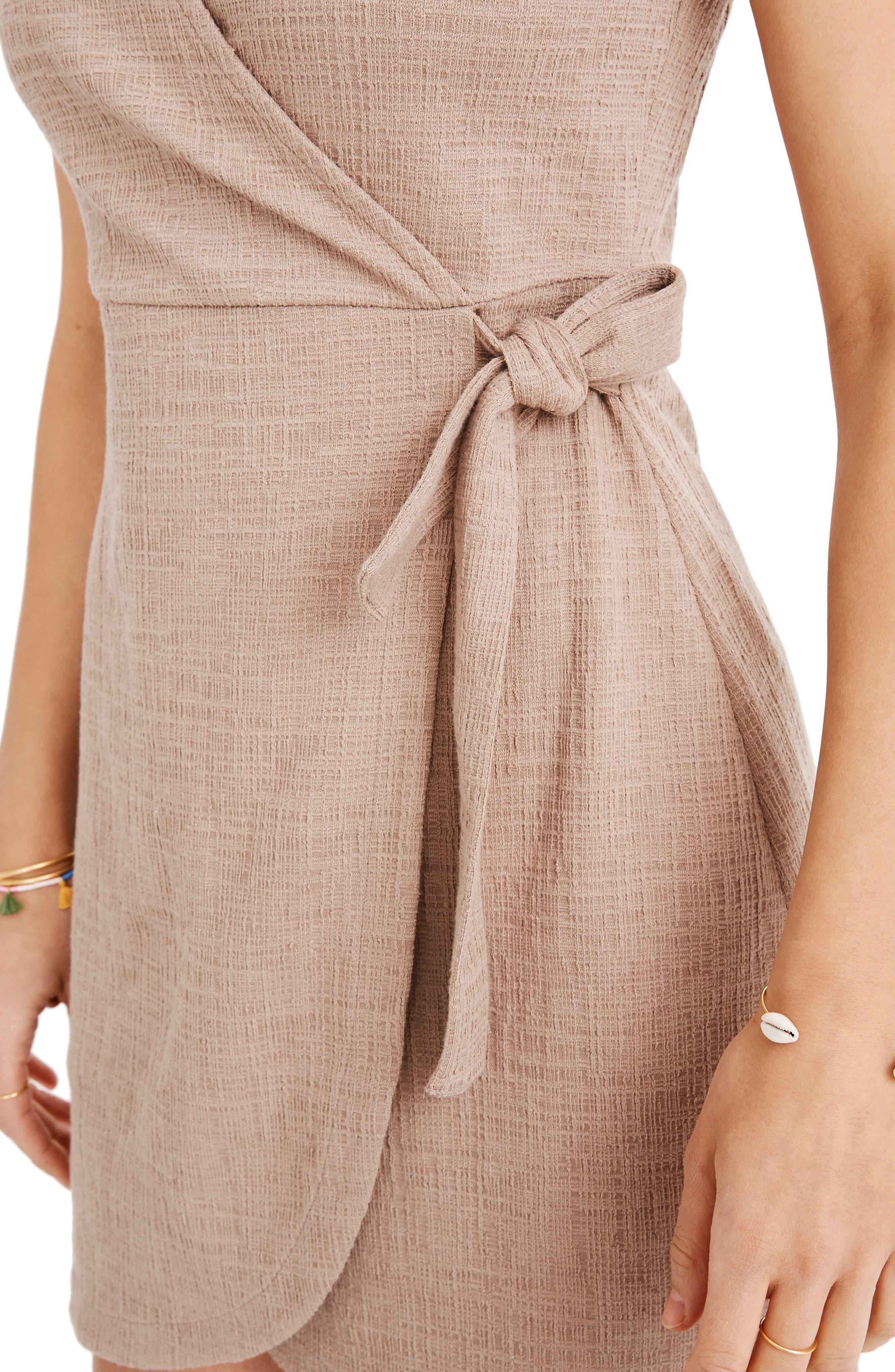 MADEWELL, Texture & Thread Side Tie Minidress, Alternate thumbnail 6, color, TELLURIDE STONE