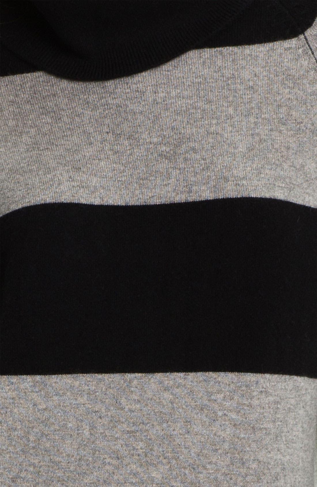 PURE AMICI, Stripe Cashmere Tunic, Alternate thumbnail 4, color, 001