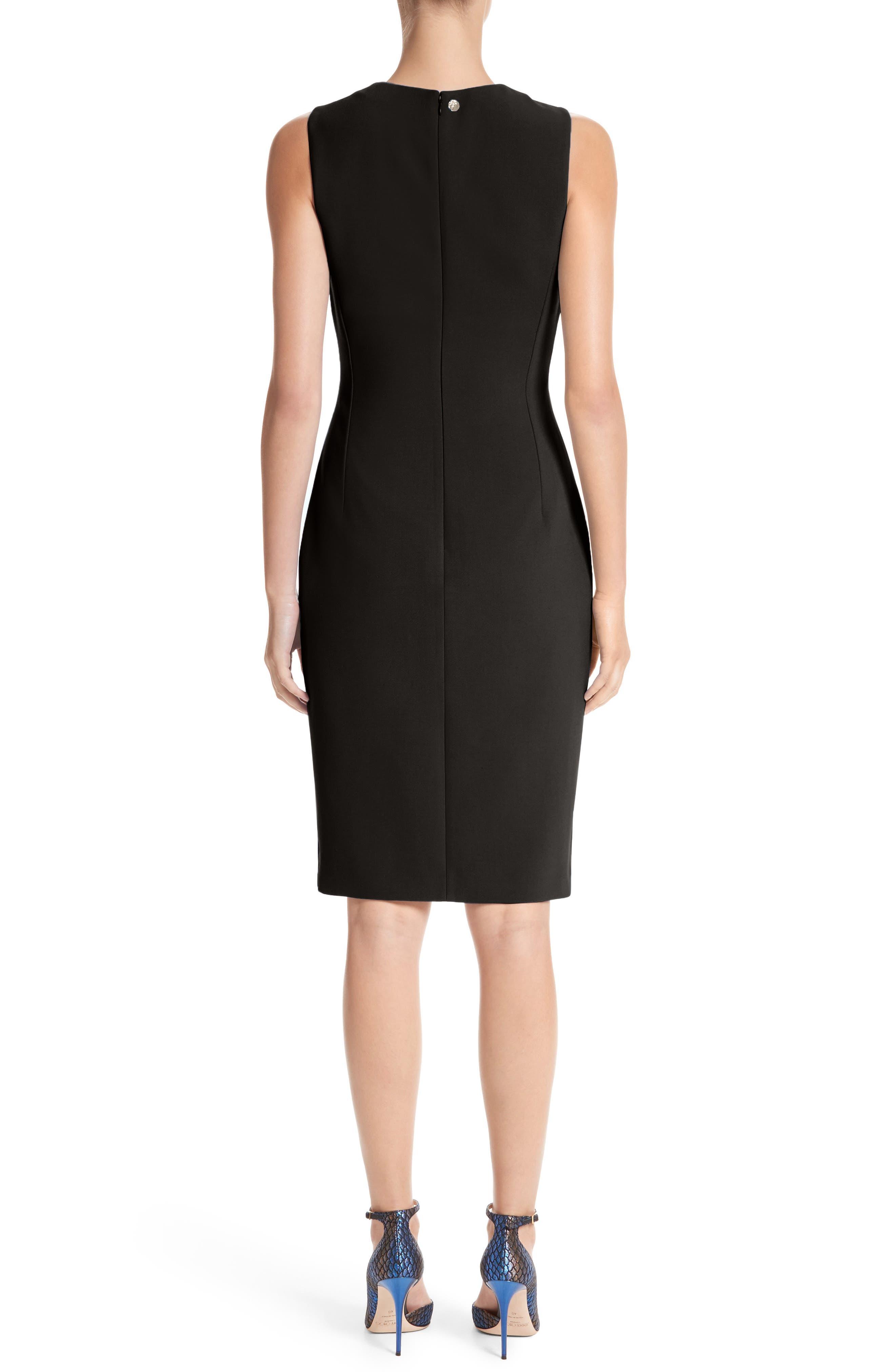 VERSACE COLLECTION, Stretch Cady Sheath Dress, Alternate thumbnail 2, color, BLACK