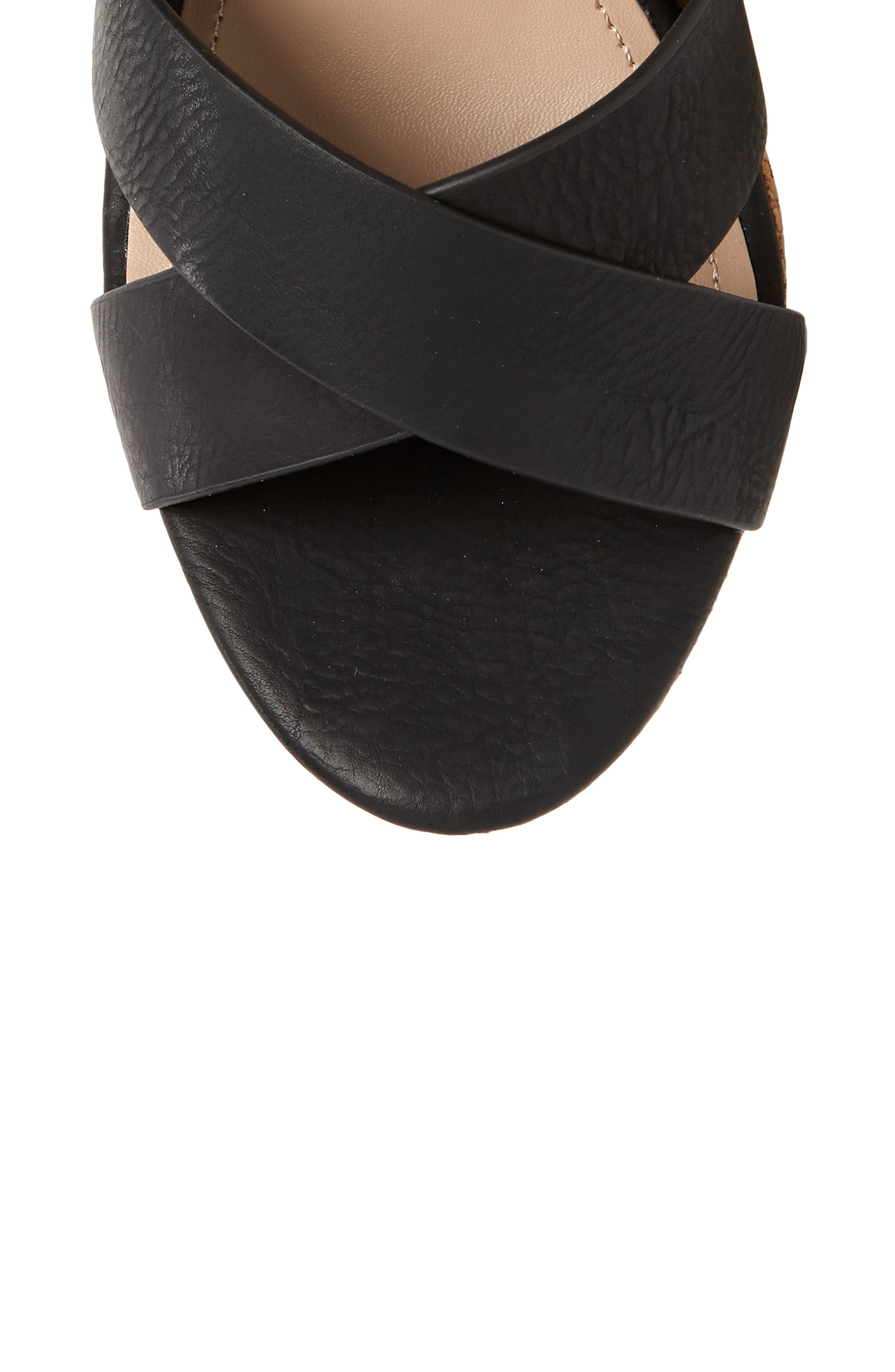 CHARLES BY CHARLES DAVID, Aleck Platform Wedge Sandal, Alternate thumbnail 5, color, BLACK FAUX LEATHER