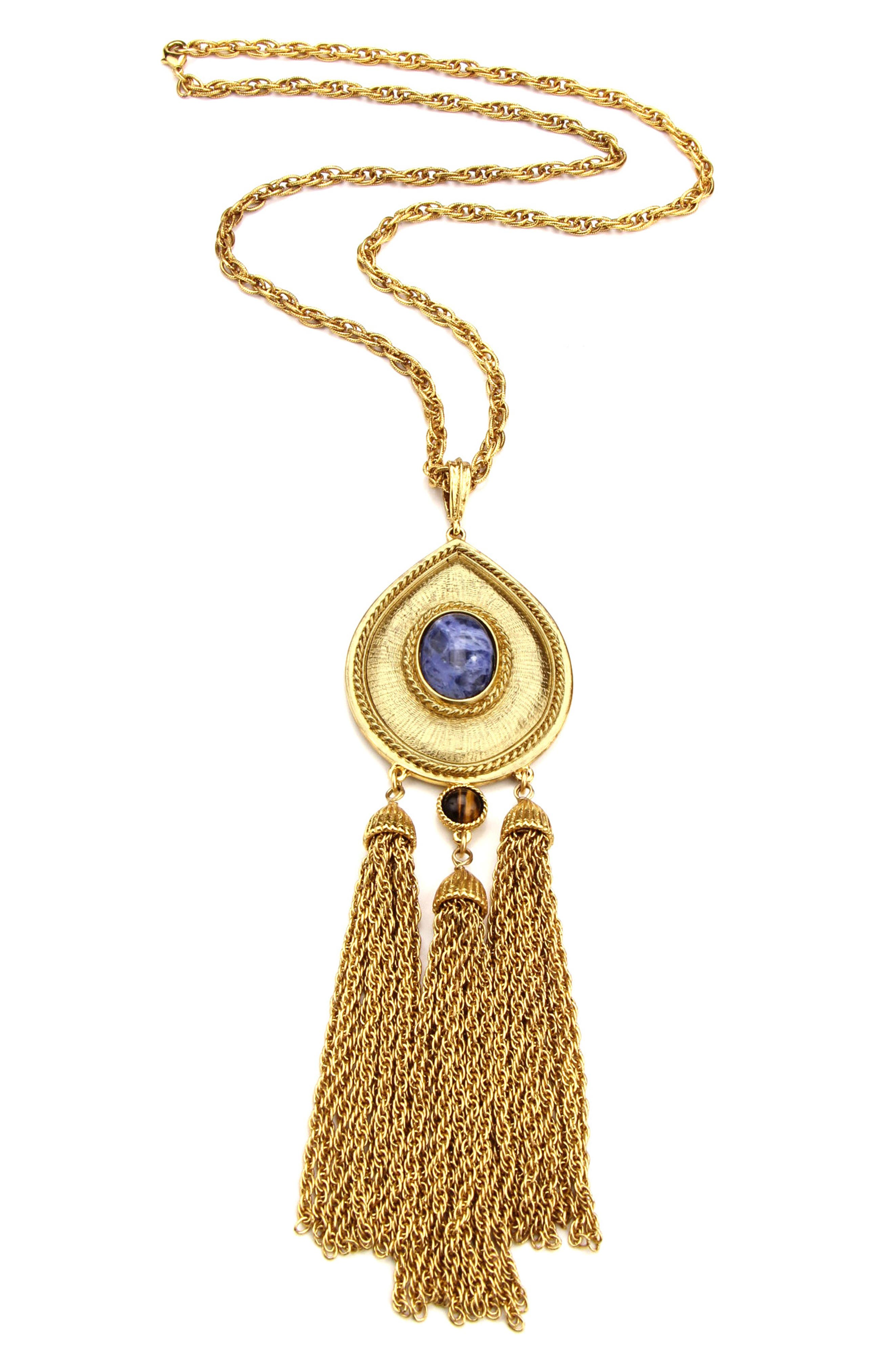 BEN-AMUN Multicolor Stone Teardrop Long Pendant Necklace, Main, color, 710