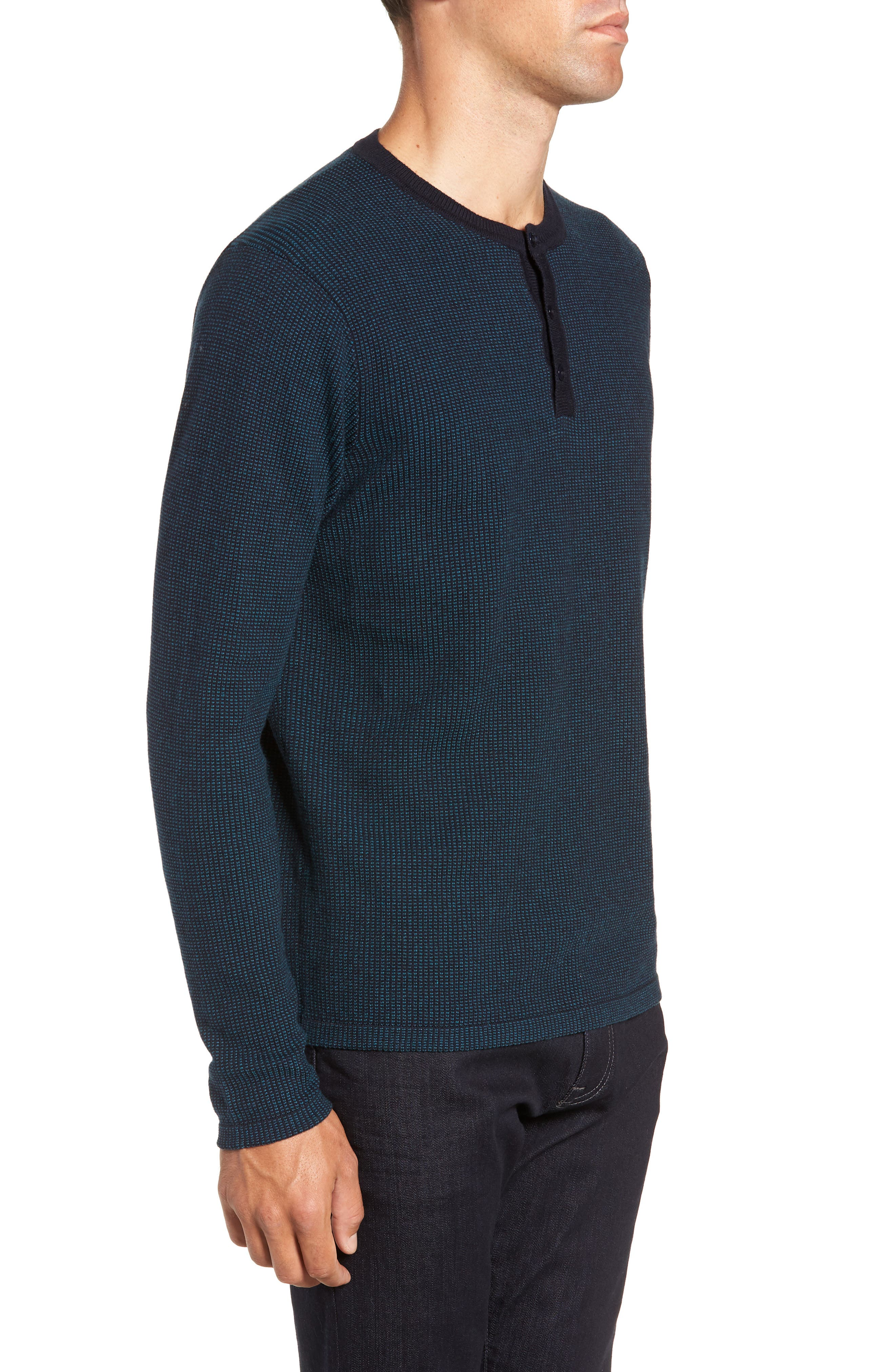ZACHARY PRELL, Kimball Henley Sweater, Alternate thumbnail 3, color, EMERALD