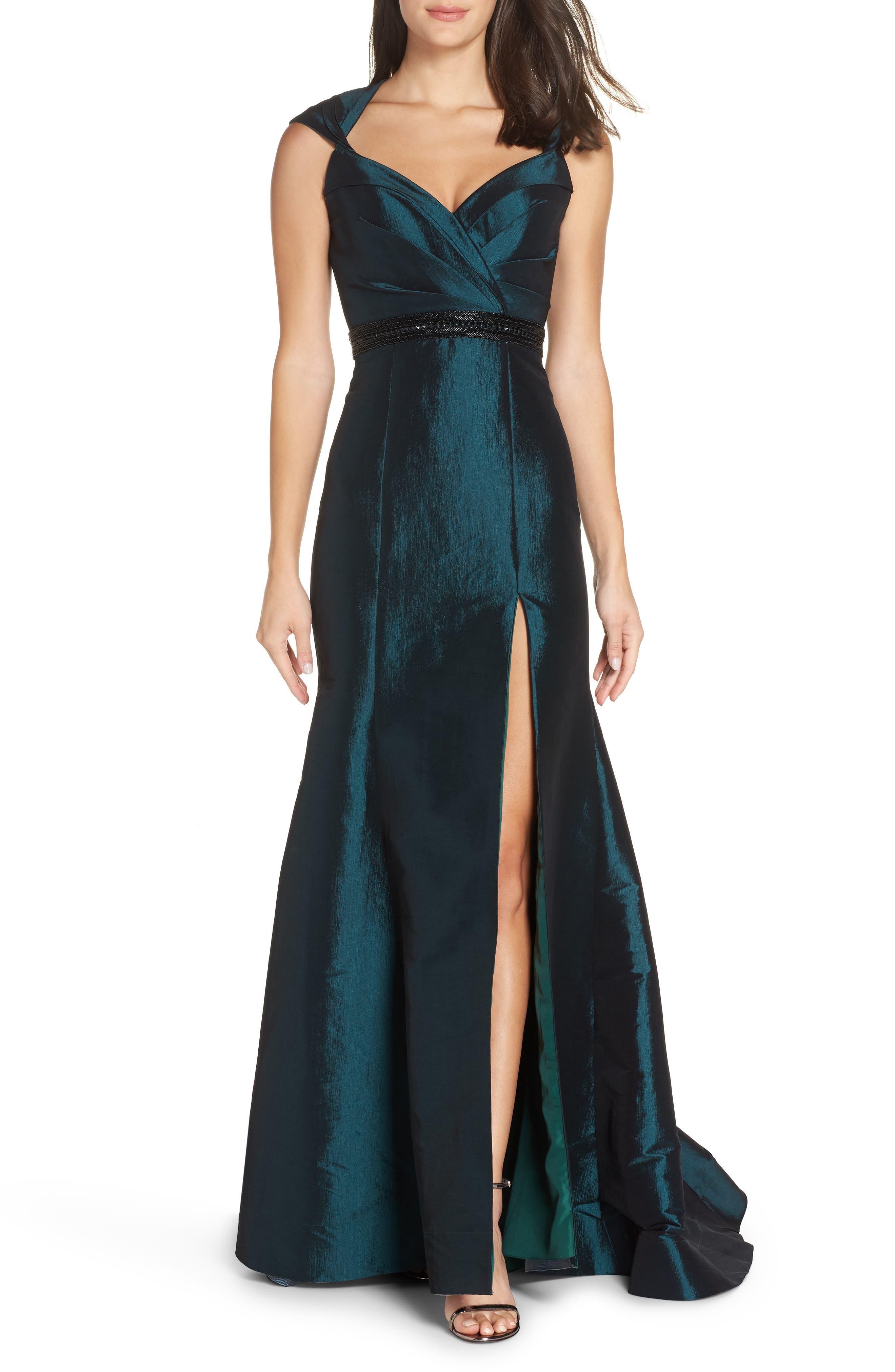 MAC DUGGAL Side Slit Taffeta Trumpet Gown, Main, color, BOTTLE GREEN