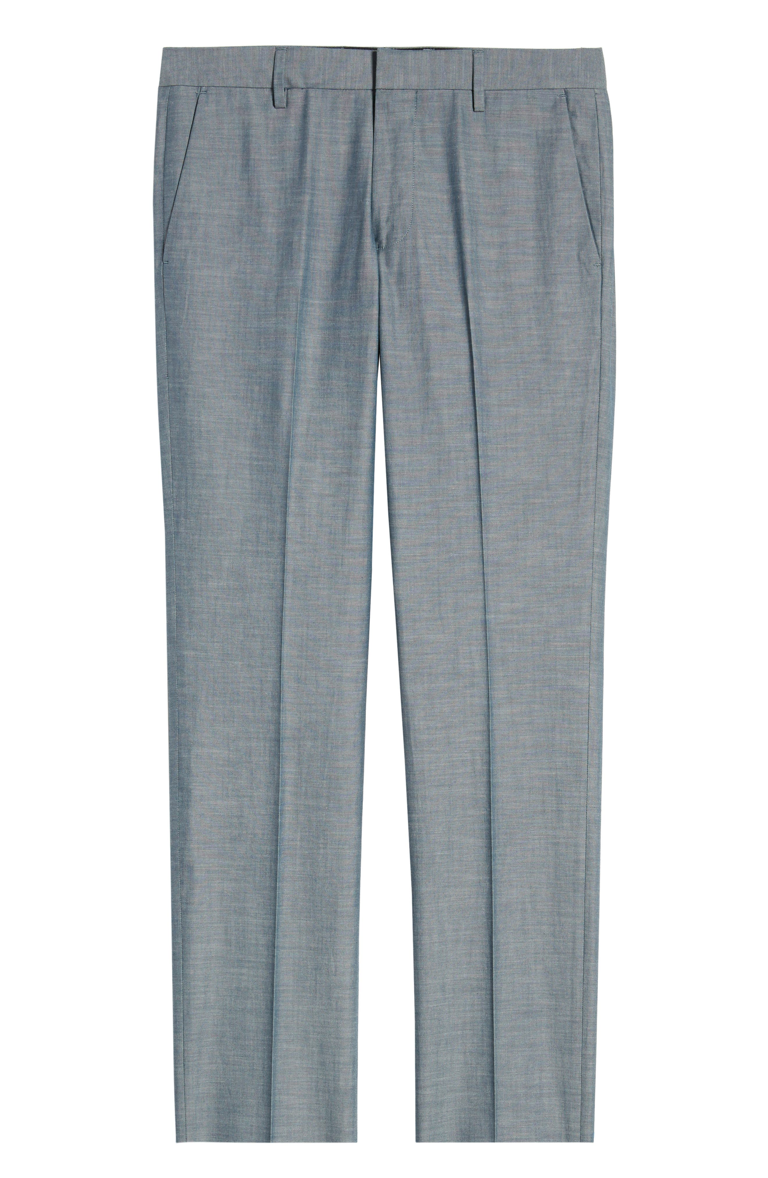 BONOBOS, Flat Front Solid Cotton Trousers, Alternate thumbnail 3, color, SOLID BLUE