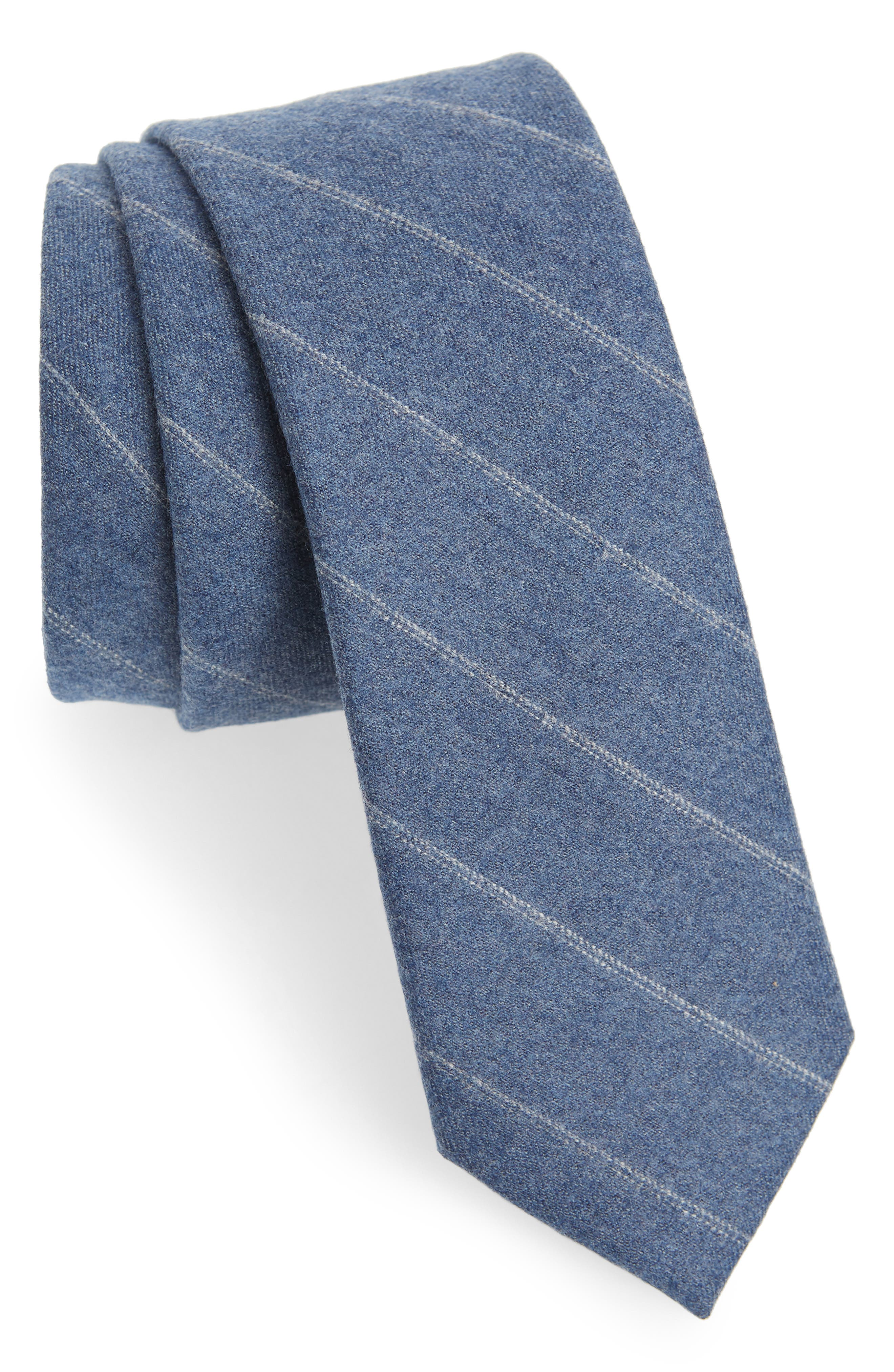 THE TIE BAR Giallo Stripe Wool Tie, Main, color, LIGHT BLUE