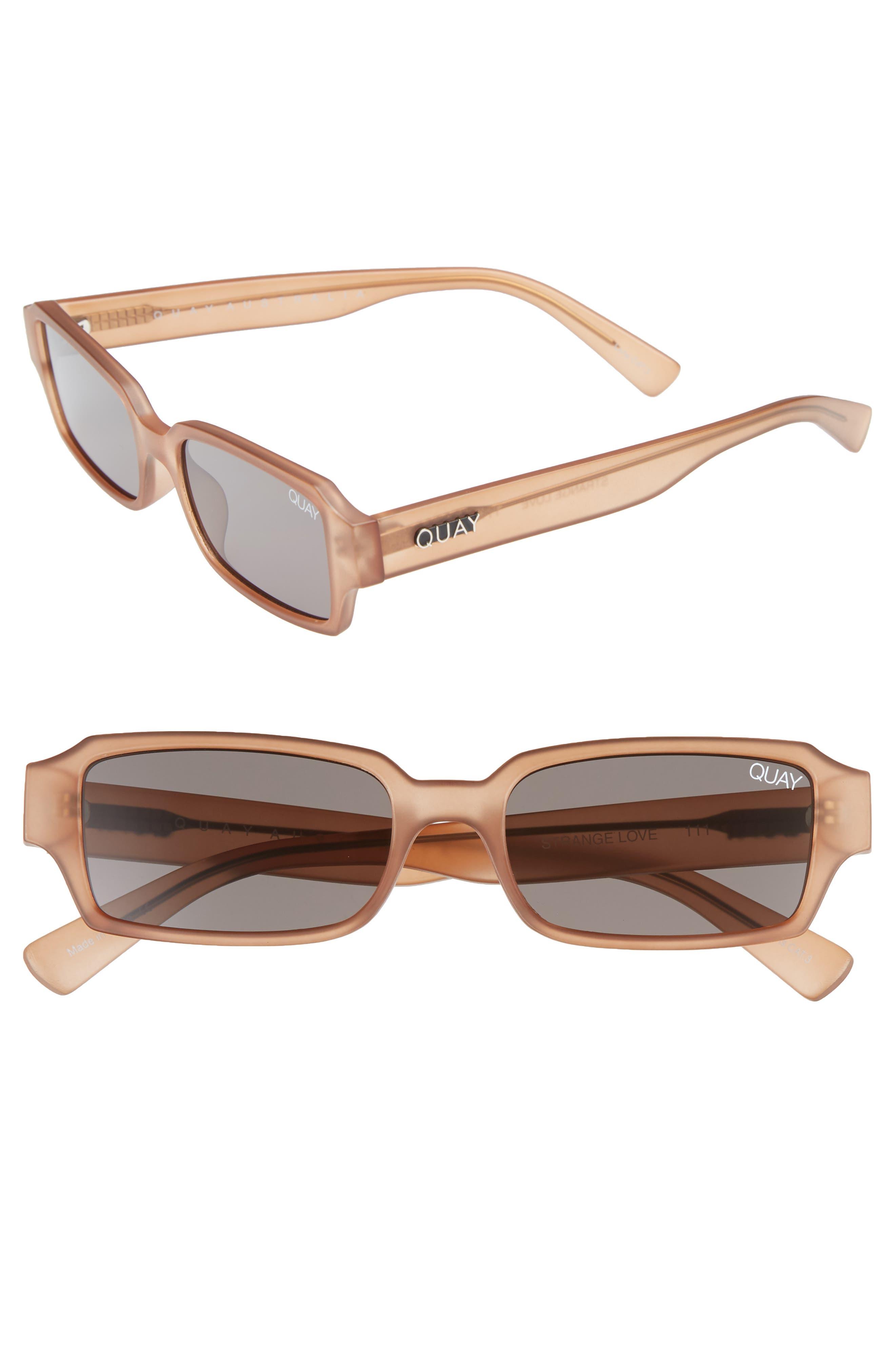 6321d3b2bcea9 Quay Australia Strange Love 5m Rectangle Sunglasses - Brown  Smoke