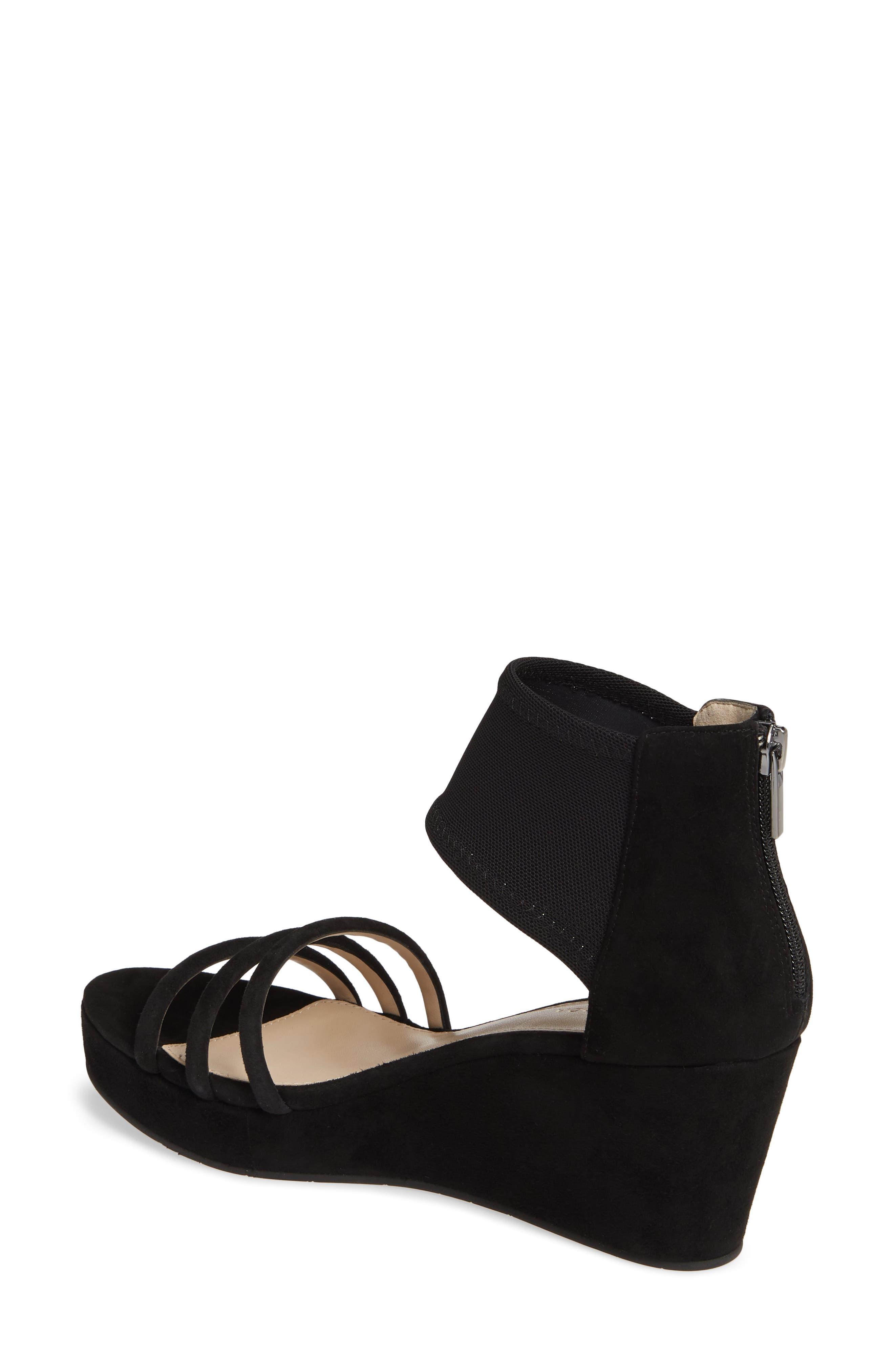 PELLE MODA, Katrice Platform Wedge Sandal, Alternate thumbnail 2, color, BLACK SUEDE