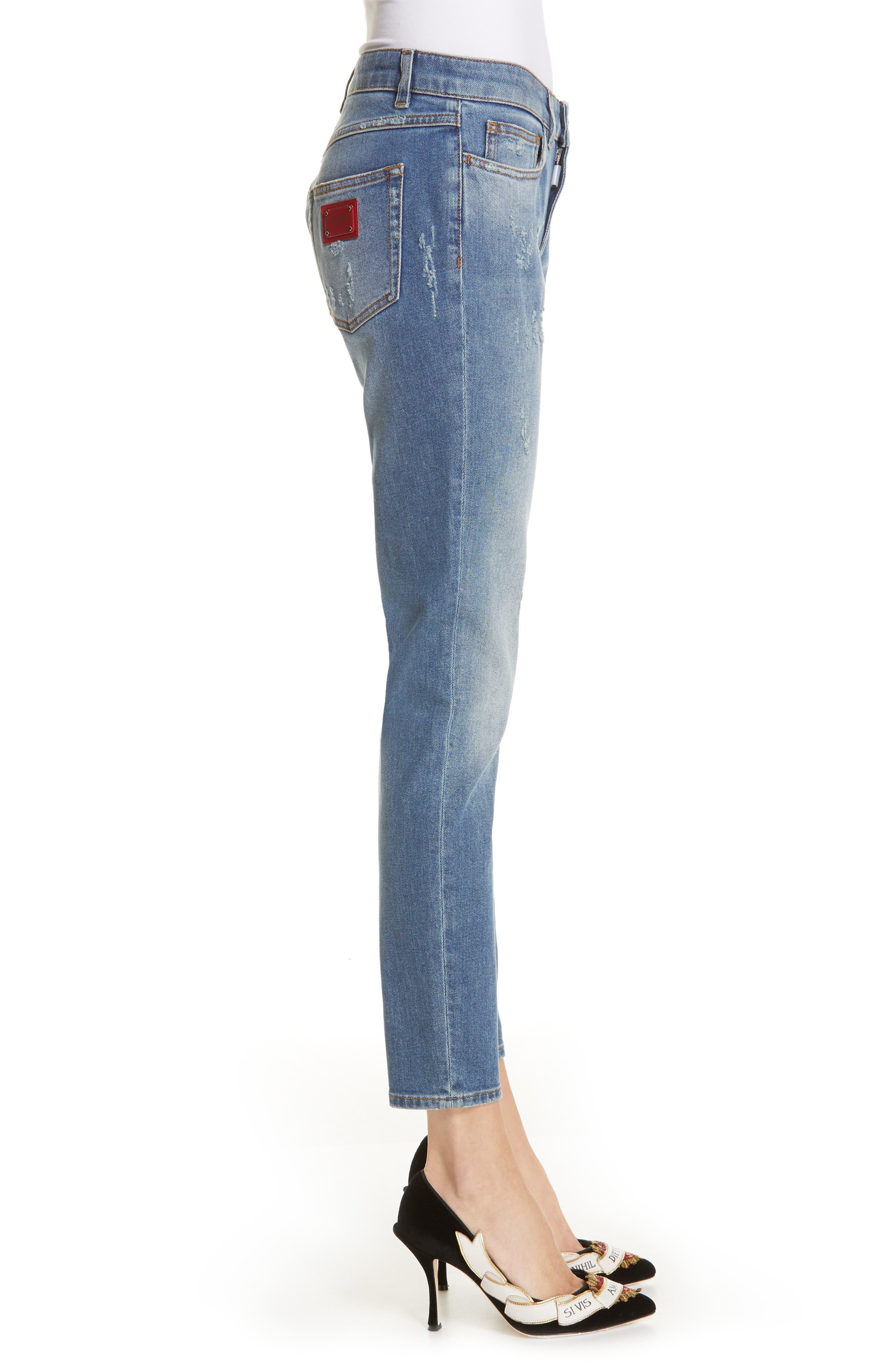 DOLCE&GABBANA, Logo Plaque Skinny Jeans, Alternate thumbnail 3, color, MED BLUE