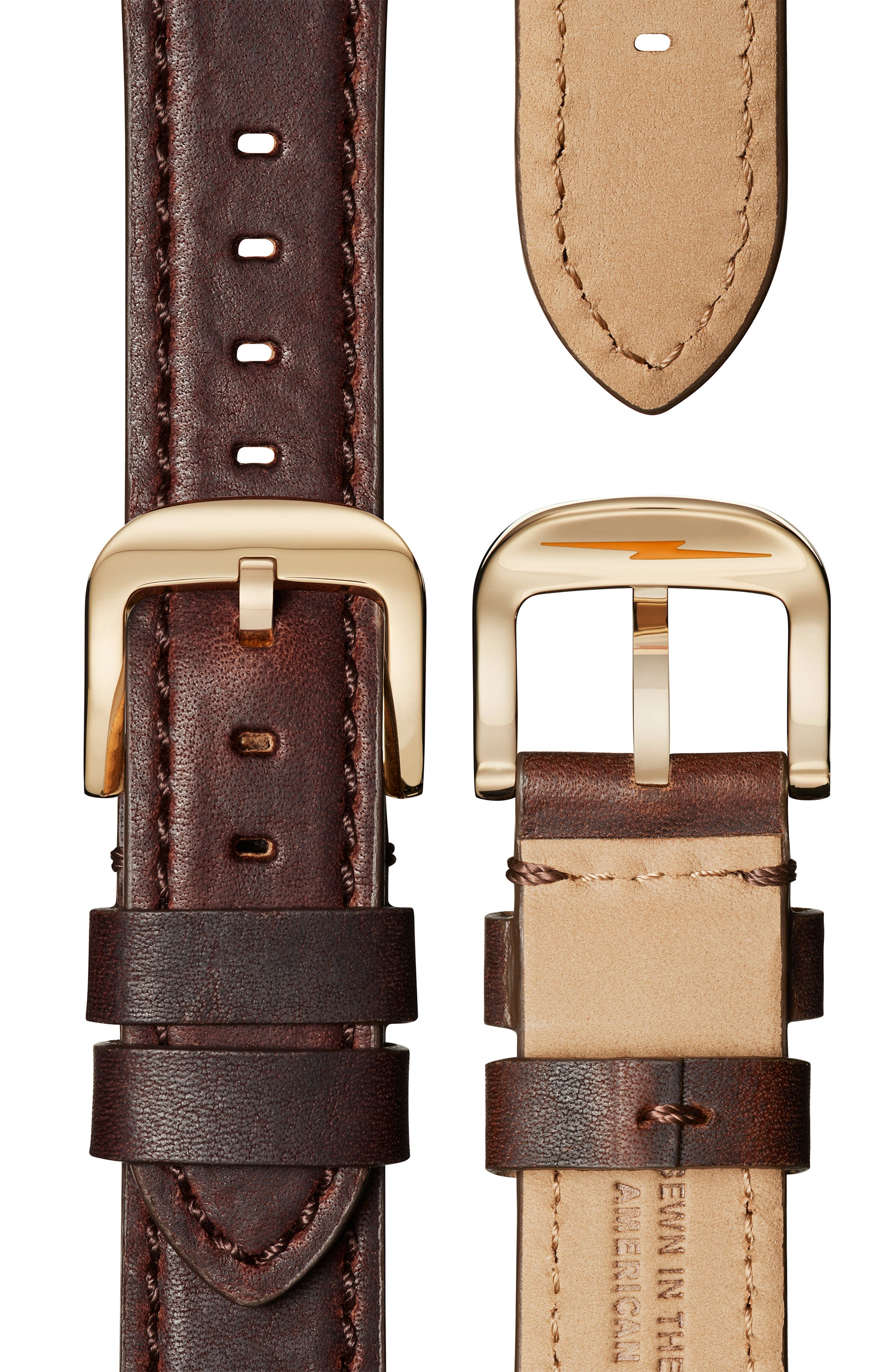 SHINOLA, 'The Runwell Chrono' Leather Strap Watch, 41mm, Alternate thumbnail 5, color, BROWN CATTAIL/ IVORY/ GOLD