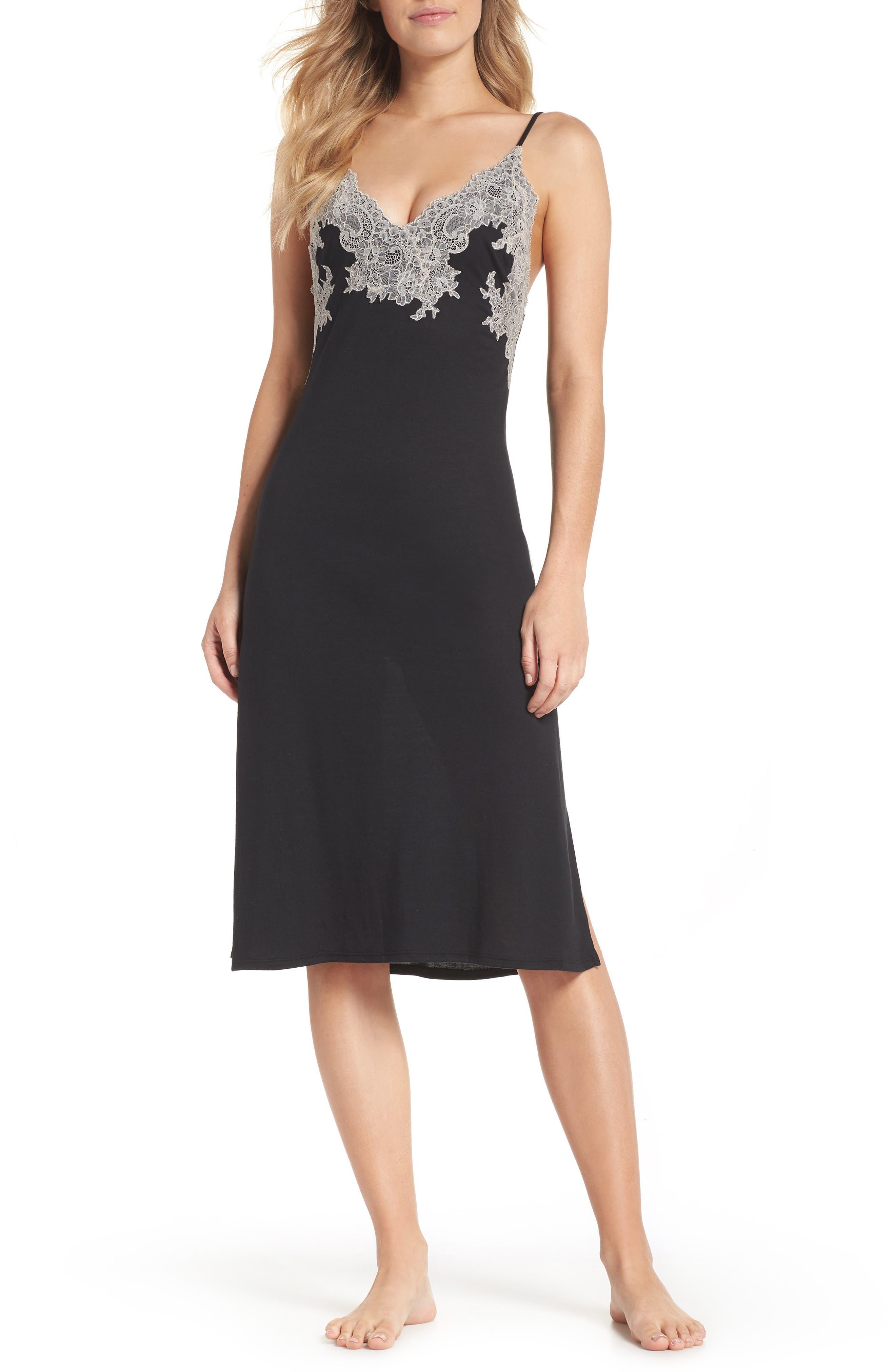 NATORI, Luxe Shangri-La Nightgown, Main thumbnail 1, color, BLACK