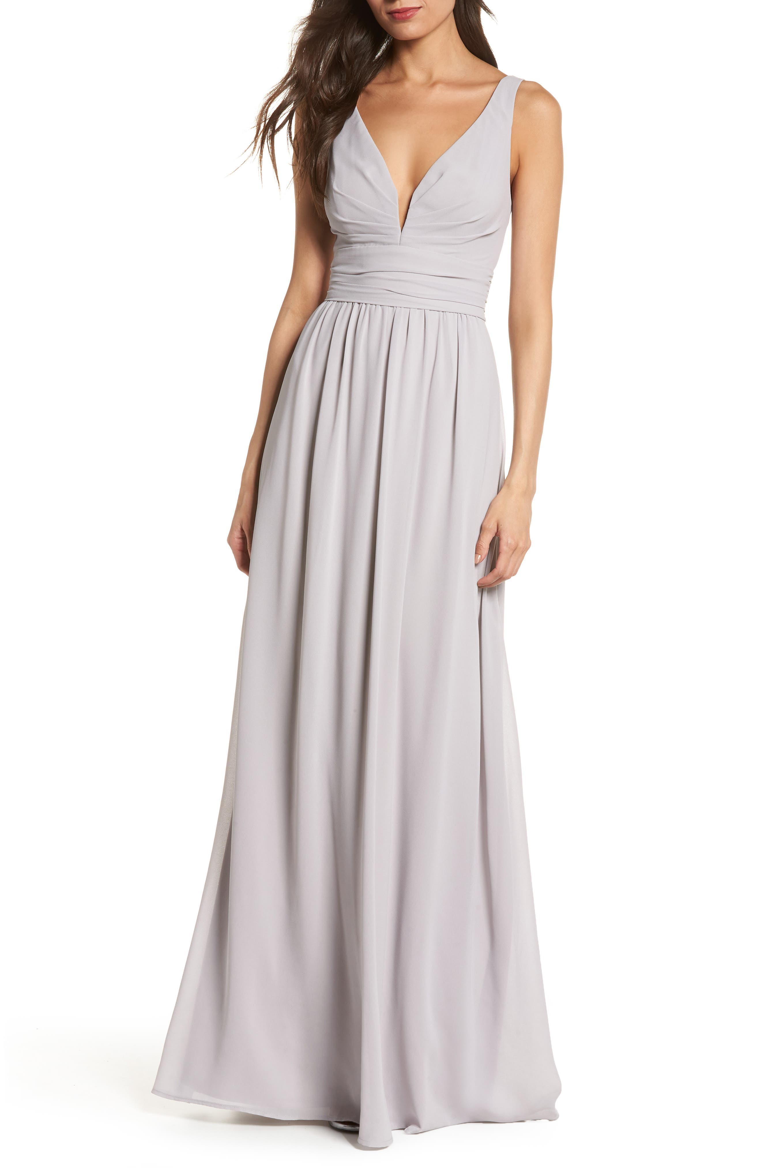 LULUS V-Neck Chiffon Gown, Main, color, GREY